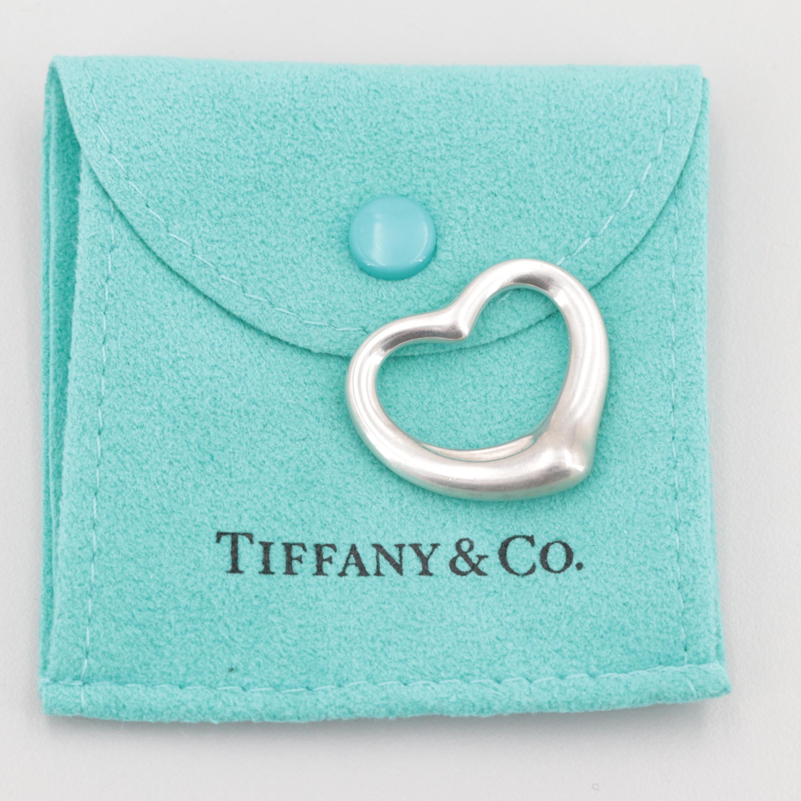 """Elsa Peretti For Tiffany & Co. Sterling Silver """"Open Heart"""" Pendant"""