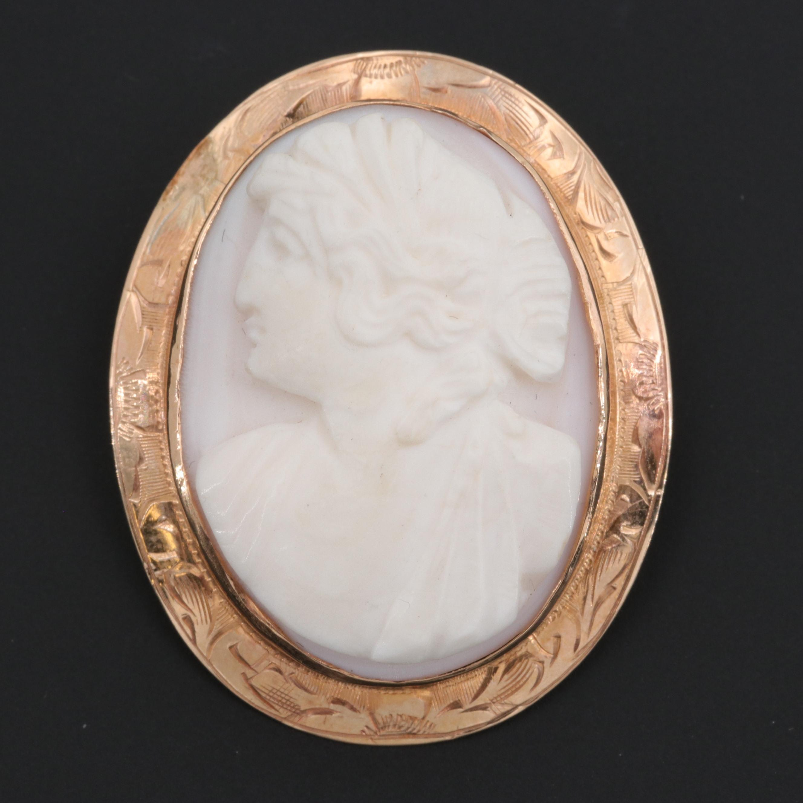 Vintage 10K Yellow Gold Conch Shell Cameo Converter Brooch