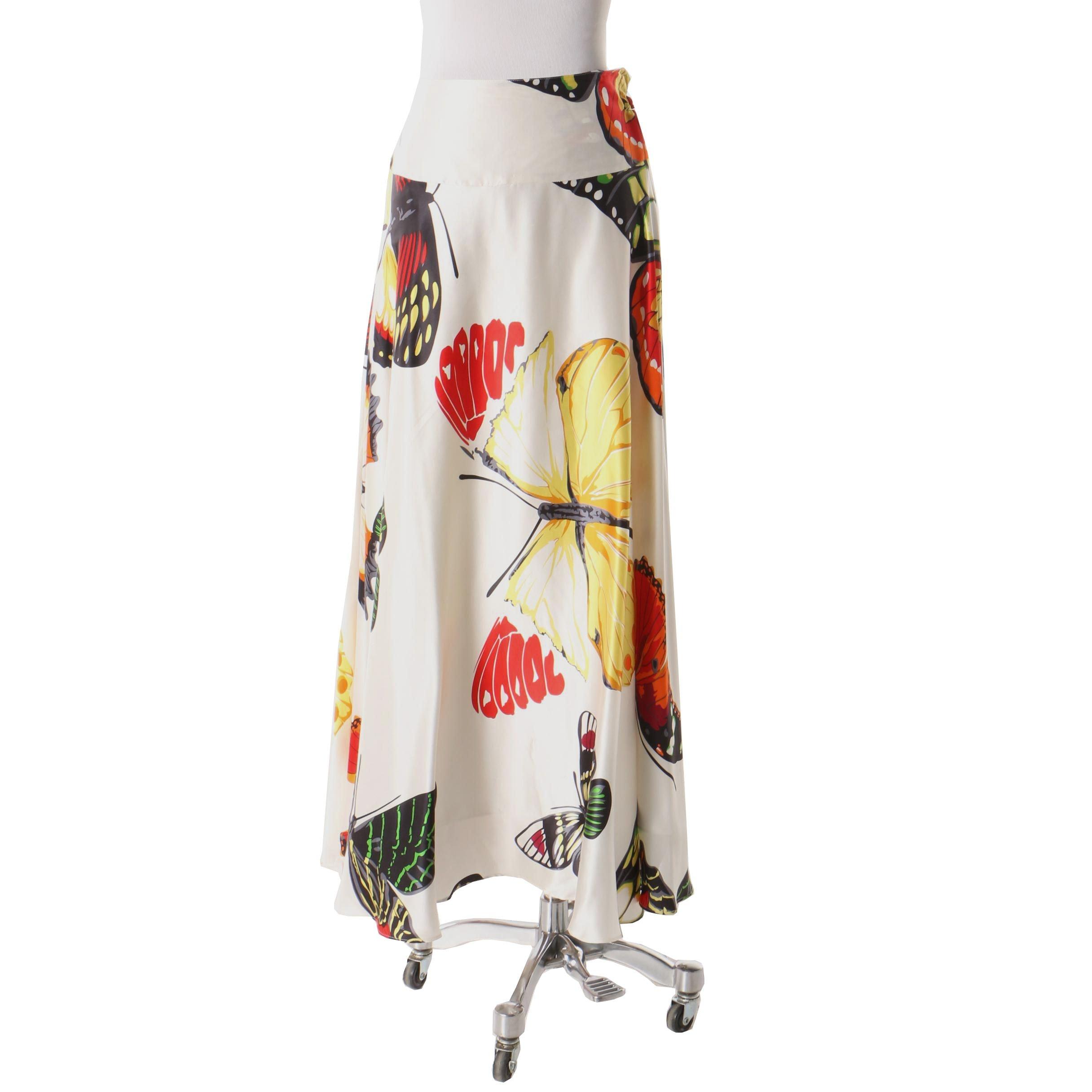 Neiman Marcus Silk Butterfly Maxi Skirt
