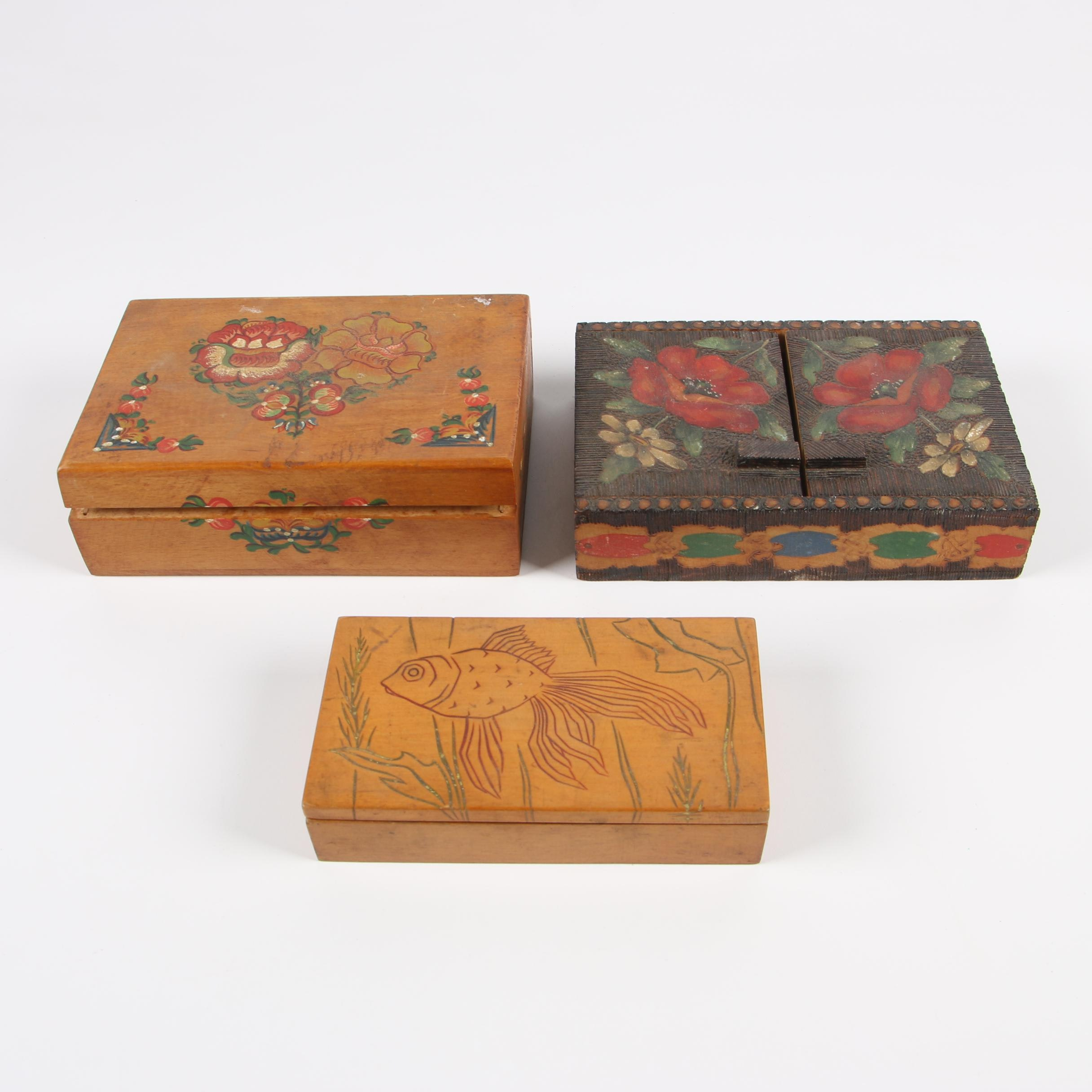 Pyrography and Hand-Decorated Wooden Boxes, 20th Century