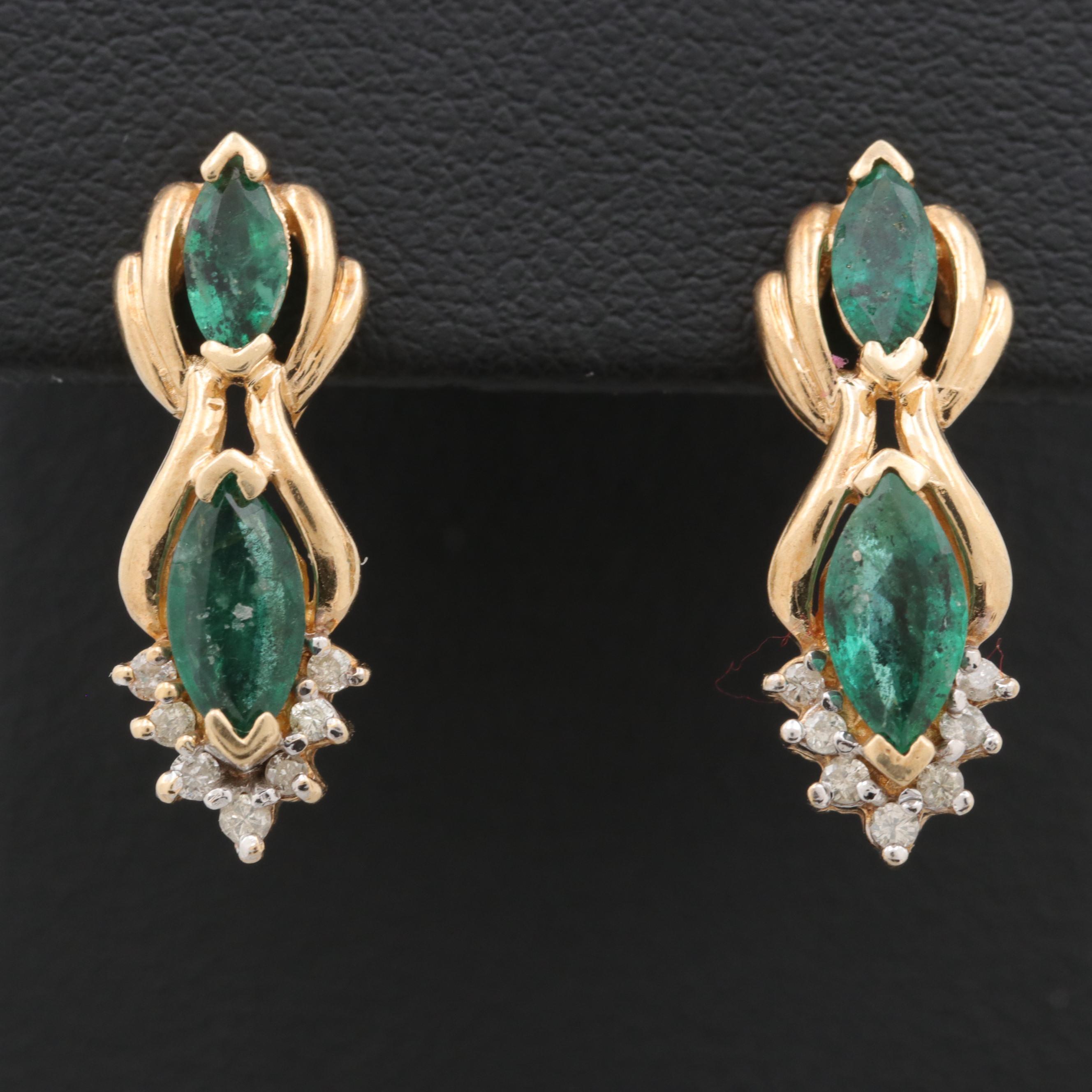 10K Yellow Gold Synthetic Emerald and Diamond Earrings