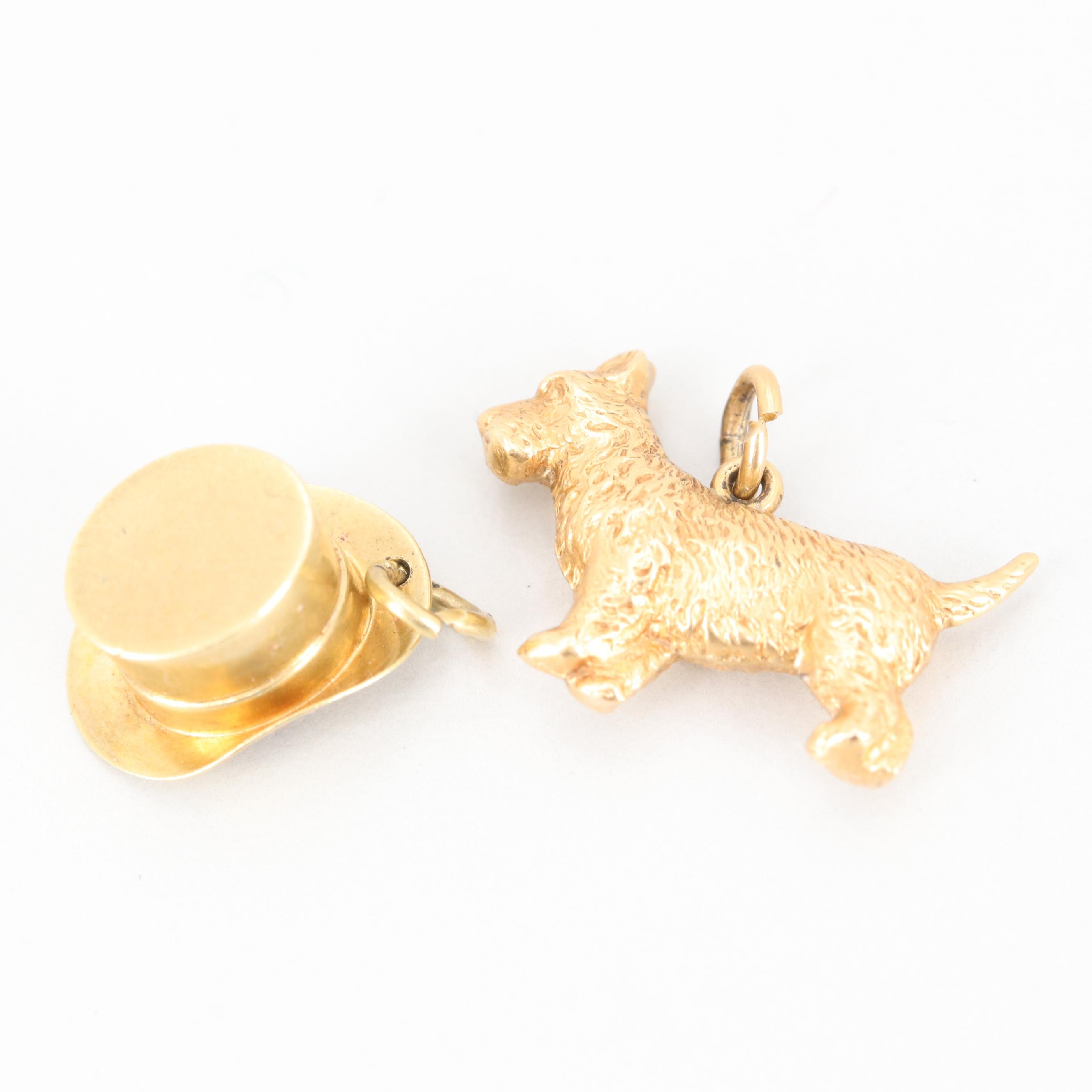 Vintage 14K Yellow Gold Top Hat and Dog Charms