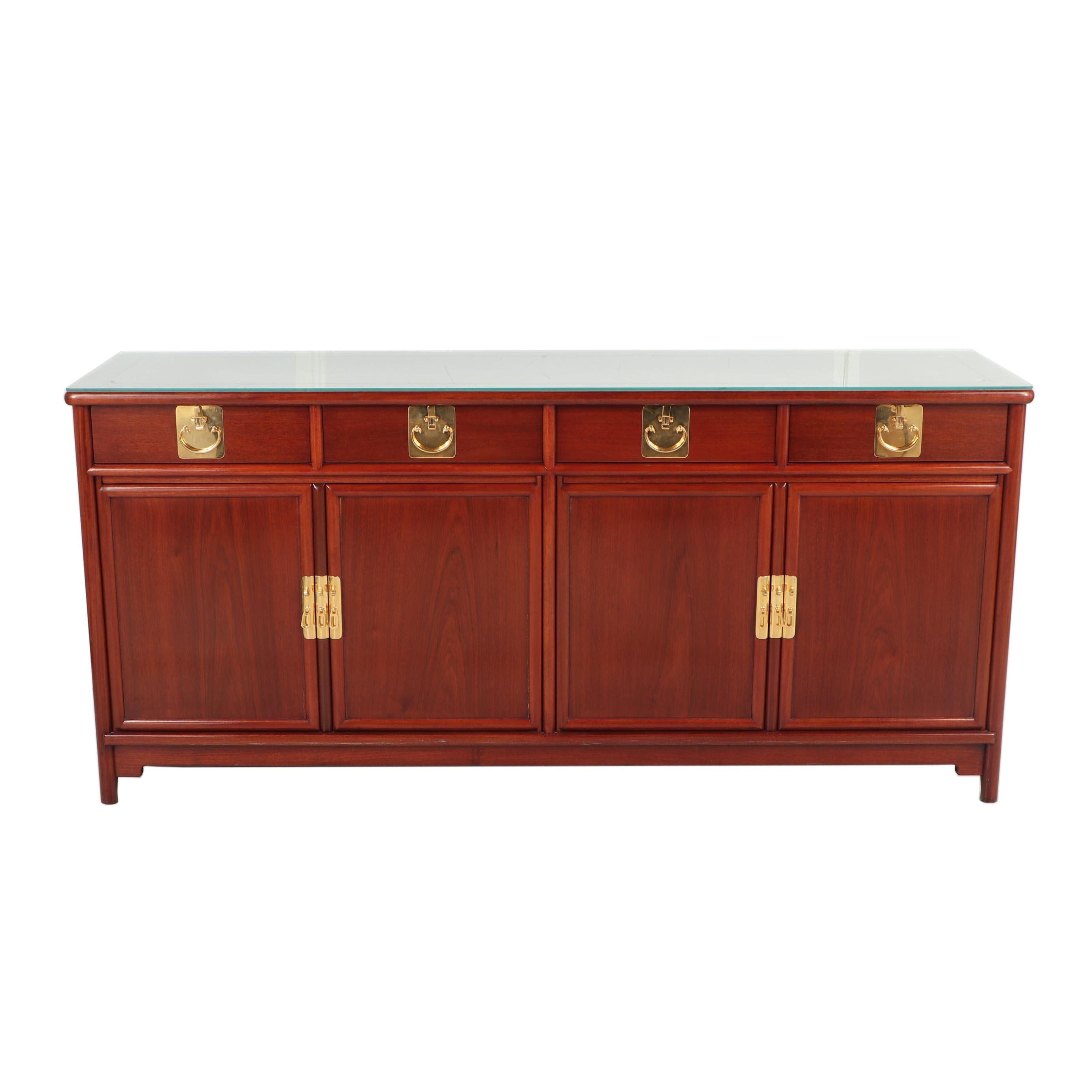 Chinese Style Mahogany Veneer Sideboard, Late 20th Century