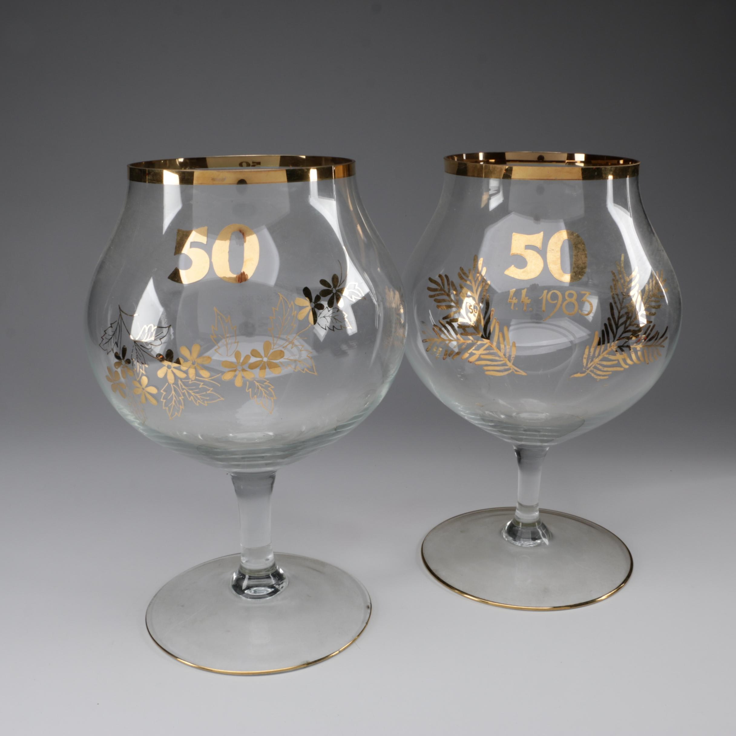 Pair of Oversized 50th Anniversary Goblets, 1983