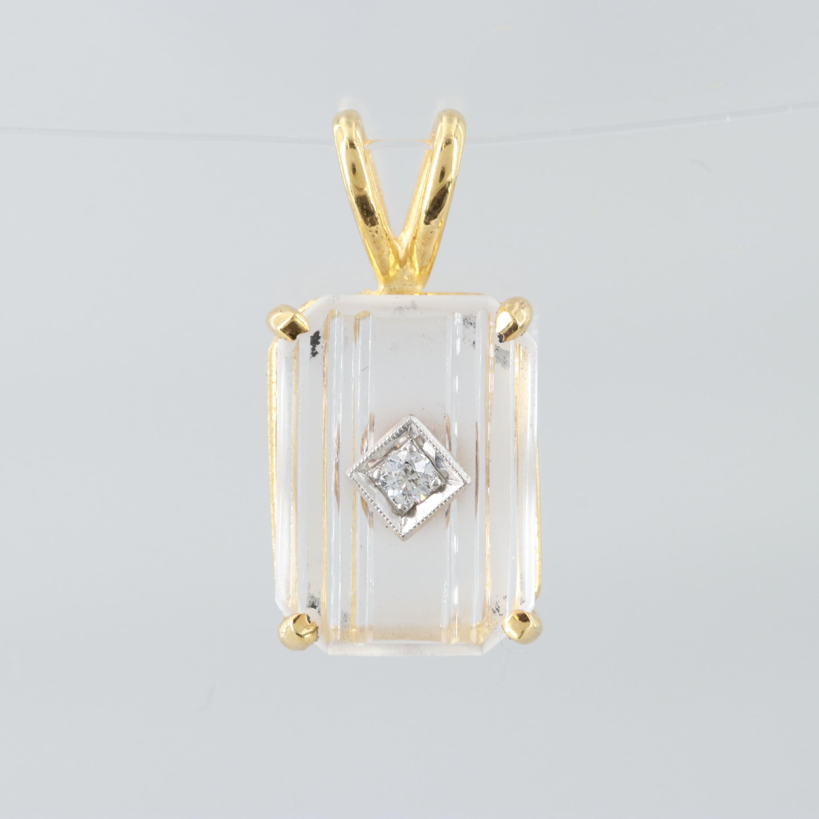 14K Yellow Gold Quartz Pendant with Platinum Diamond Center Accent