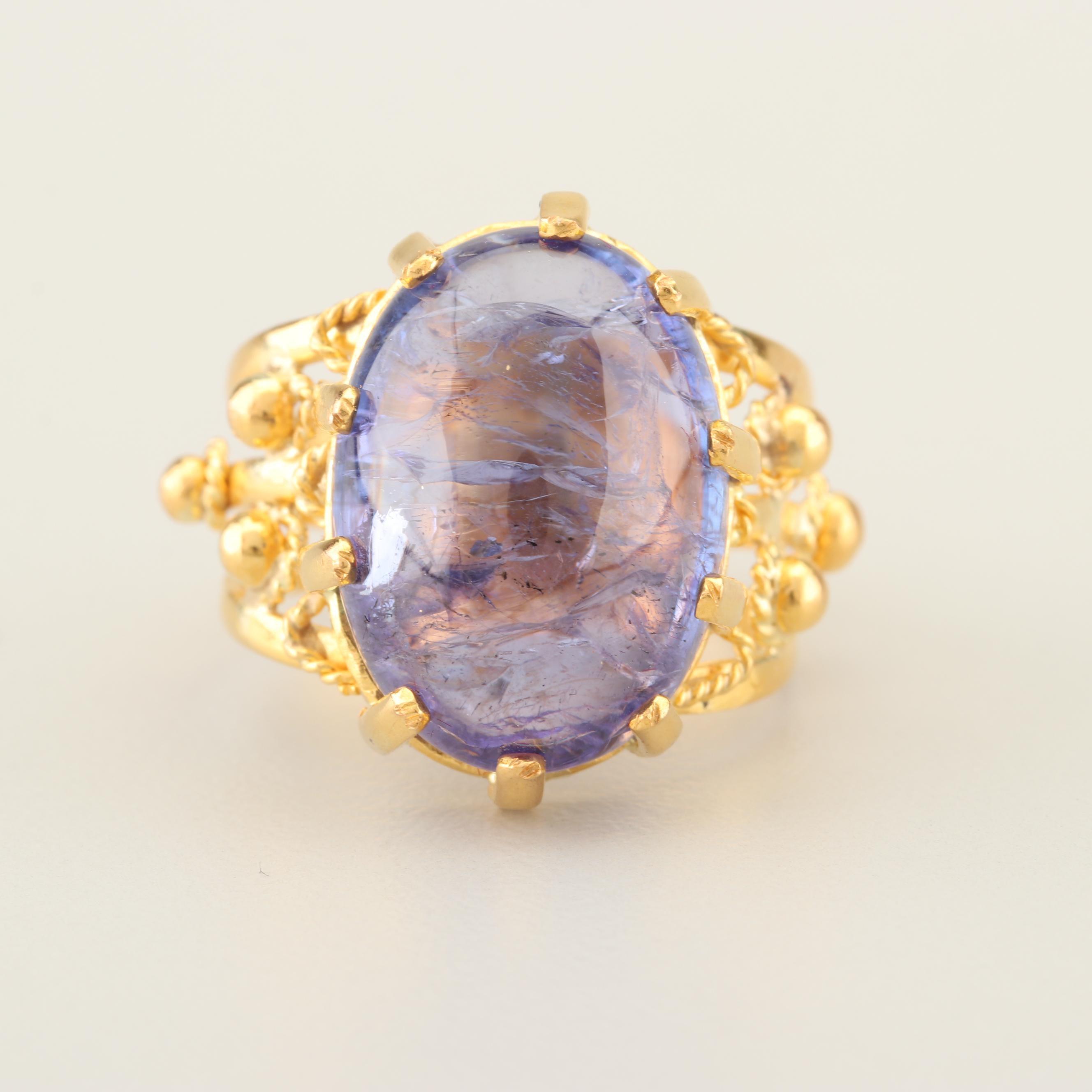 22K Yellow Gold and Tanzanite Ring