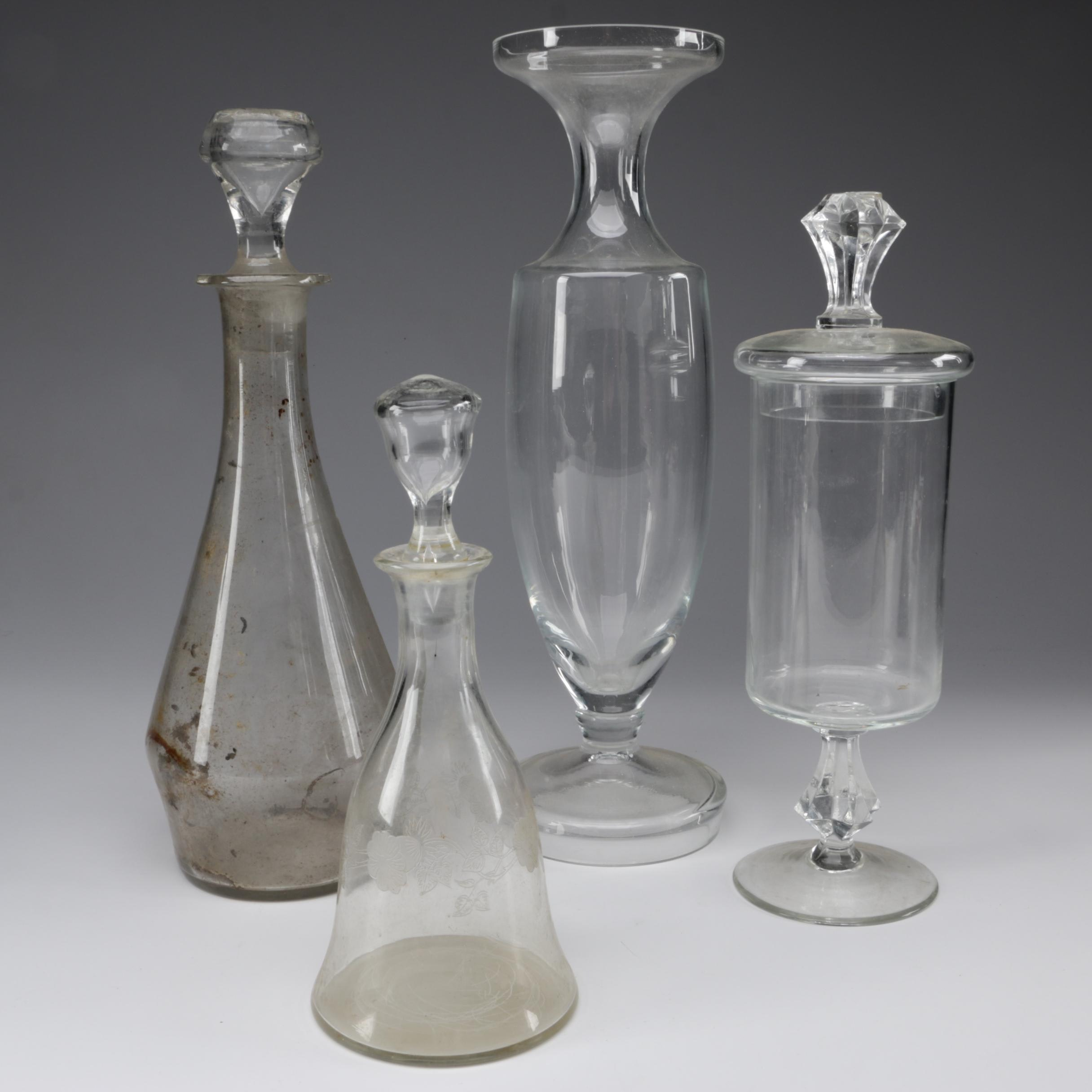 European Glass Decanters and Apothecary Jars, 20th Century