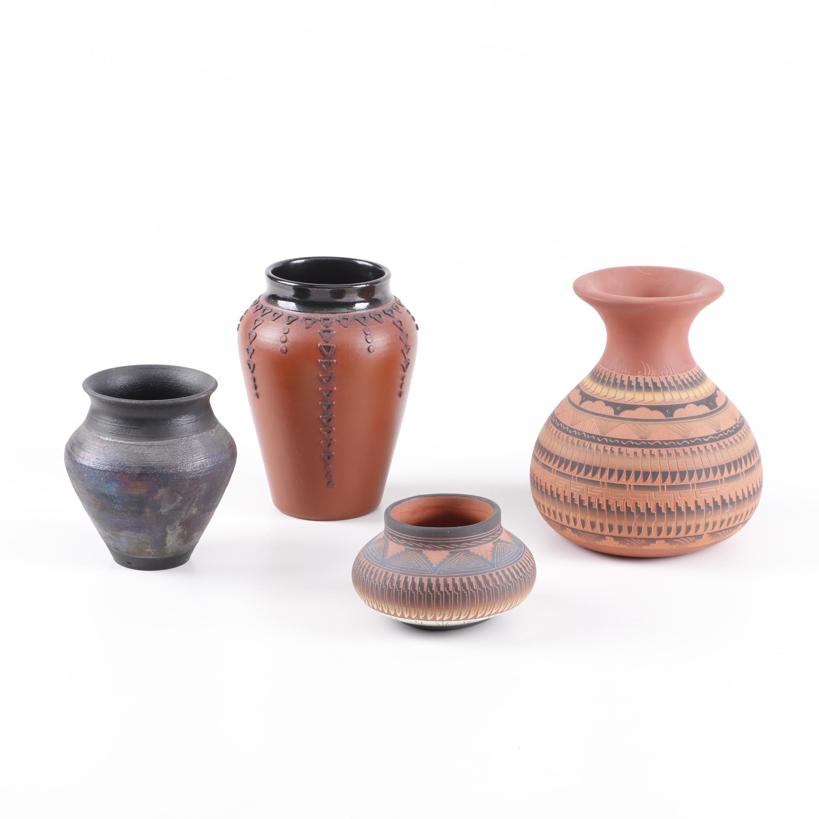 Navajo and Raku Fired Earthenware Vases Featuring Dena Johnson and Suki