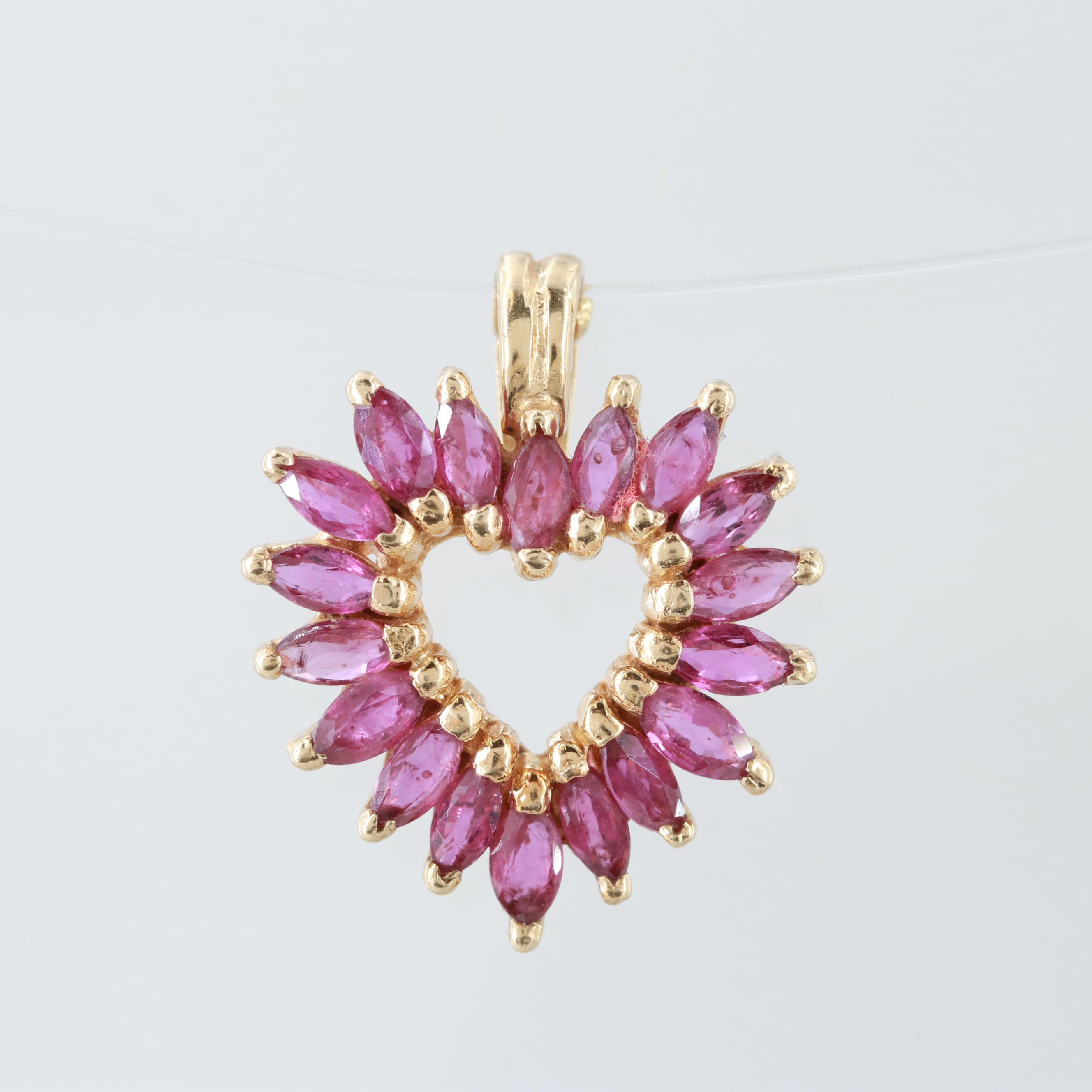 14K Yellow Gold Ruby Heart Shaped Enhancer Pendant