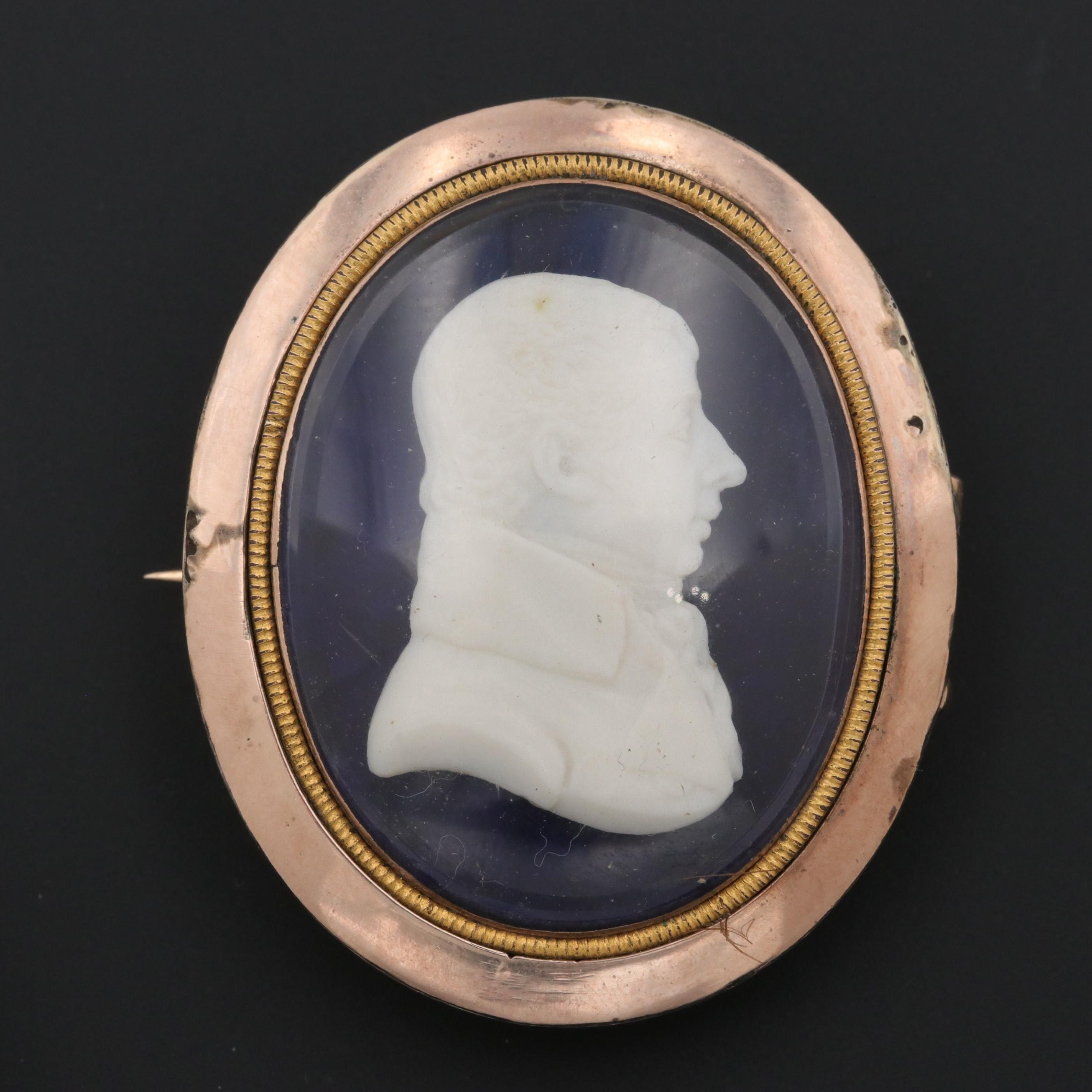 Victorian 8K and 14K Bi-Color Gold Cameo and Mourning Brooch