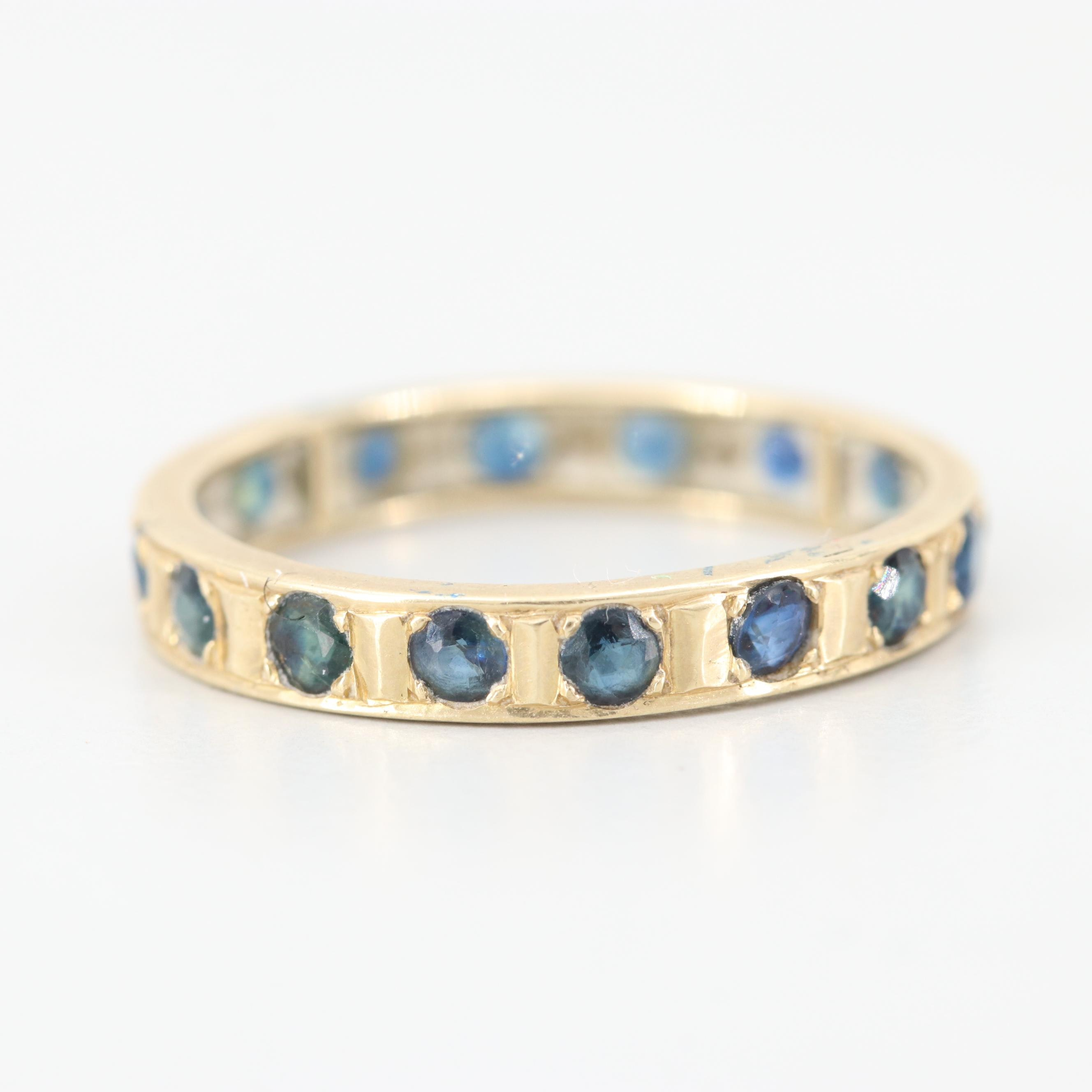 14K Yellow Gold Sapphire Eternity Band