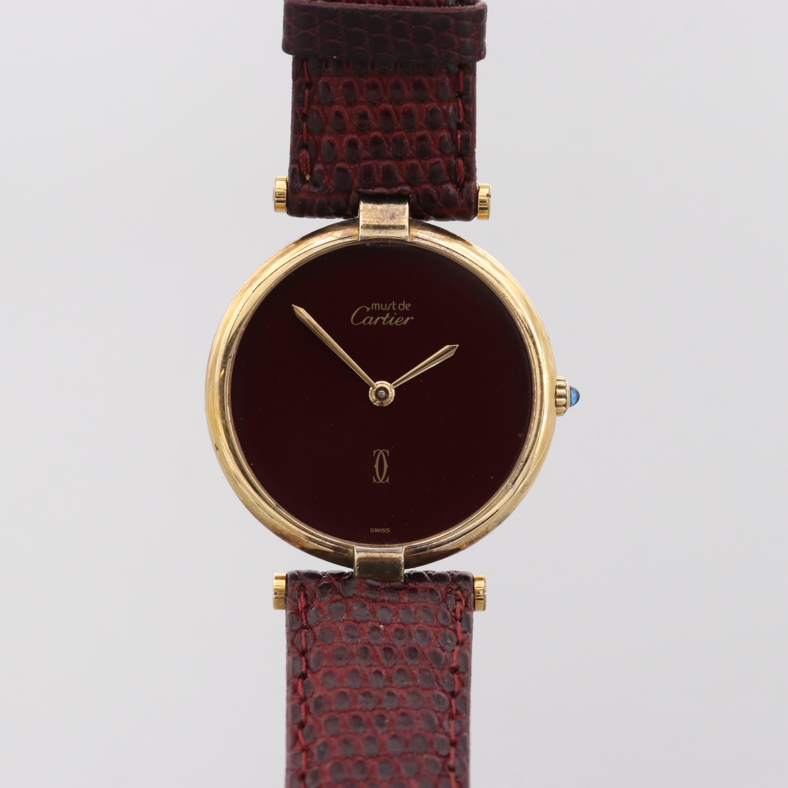 Must de Cartier Gold Plated Sterling Silver Quartz Wristwatch