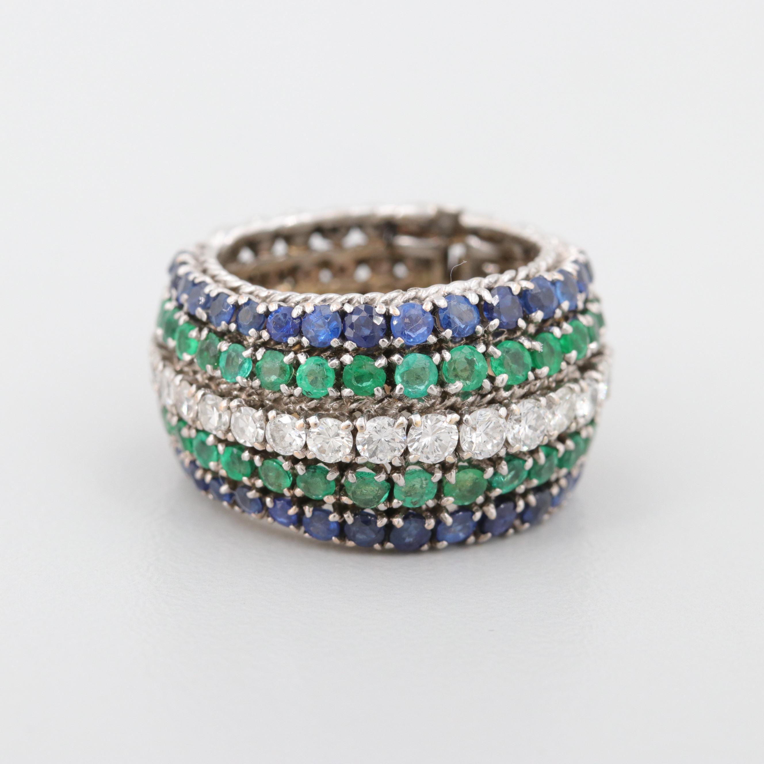 18K White Gold Diamond, Emerald and Sapphire Ring
