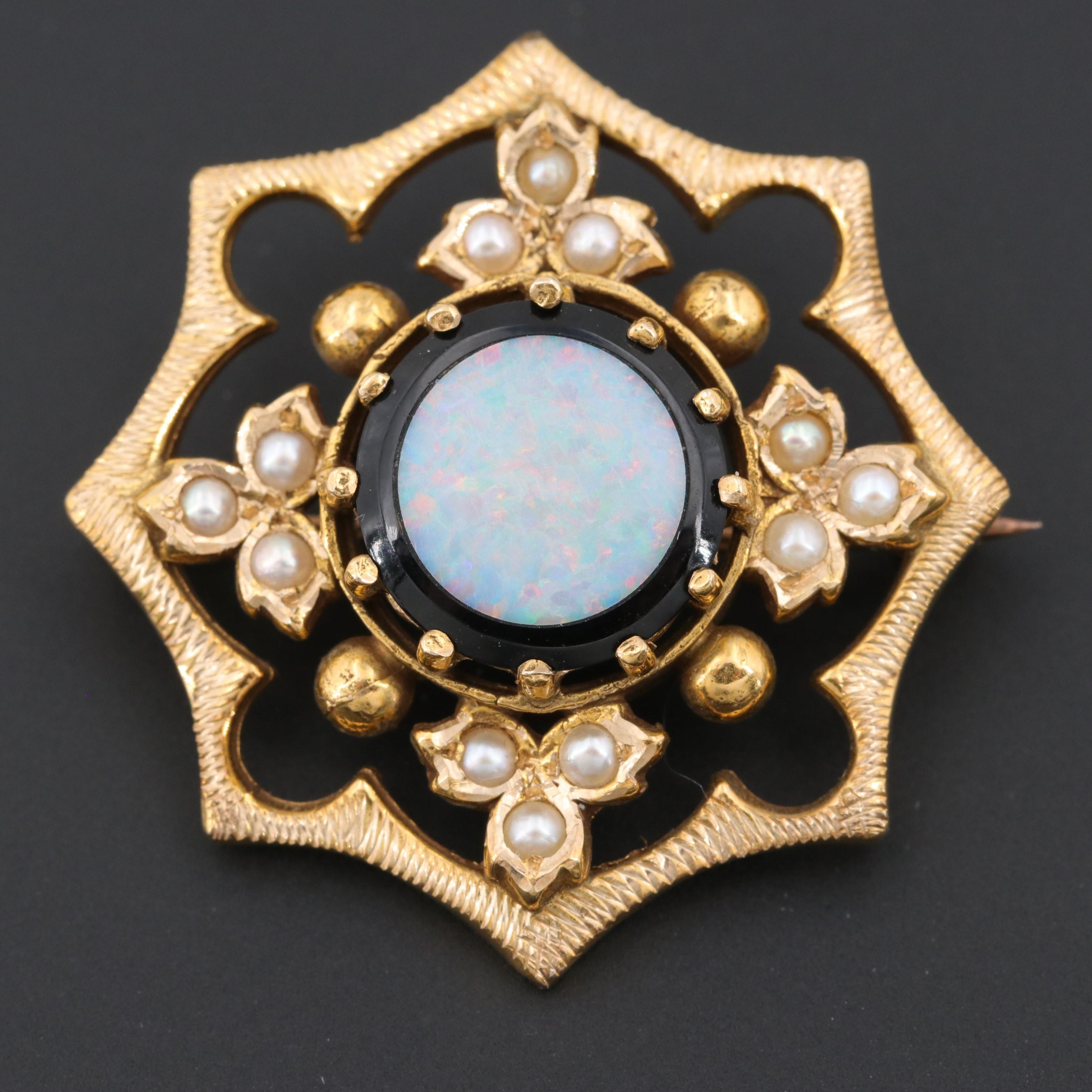 Vintage 14K Yellow Gold Cultured Pearl and Black Onyx with Opal Inlay Brooch
