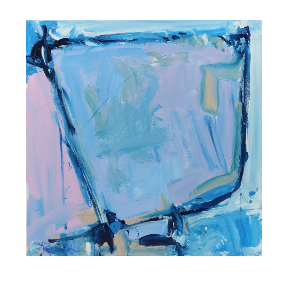 "Robbie Kemper Abstract Acrylic Painting ""Cools in Blue Shape"""