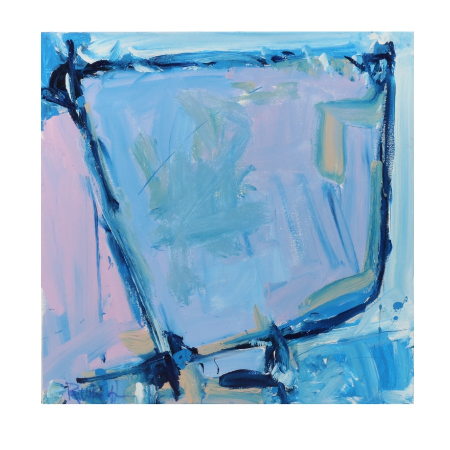 """Robbie Kemper Abstract Acrylic Painting """"Cools in Blue Shape"""""""