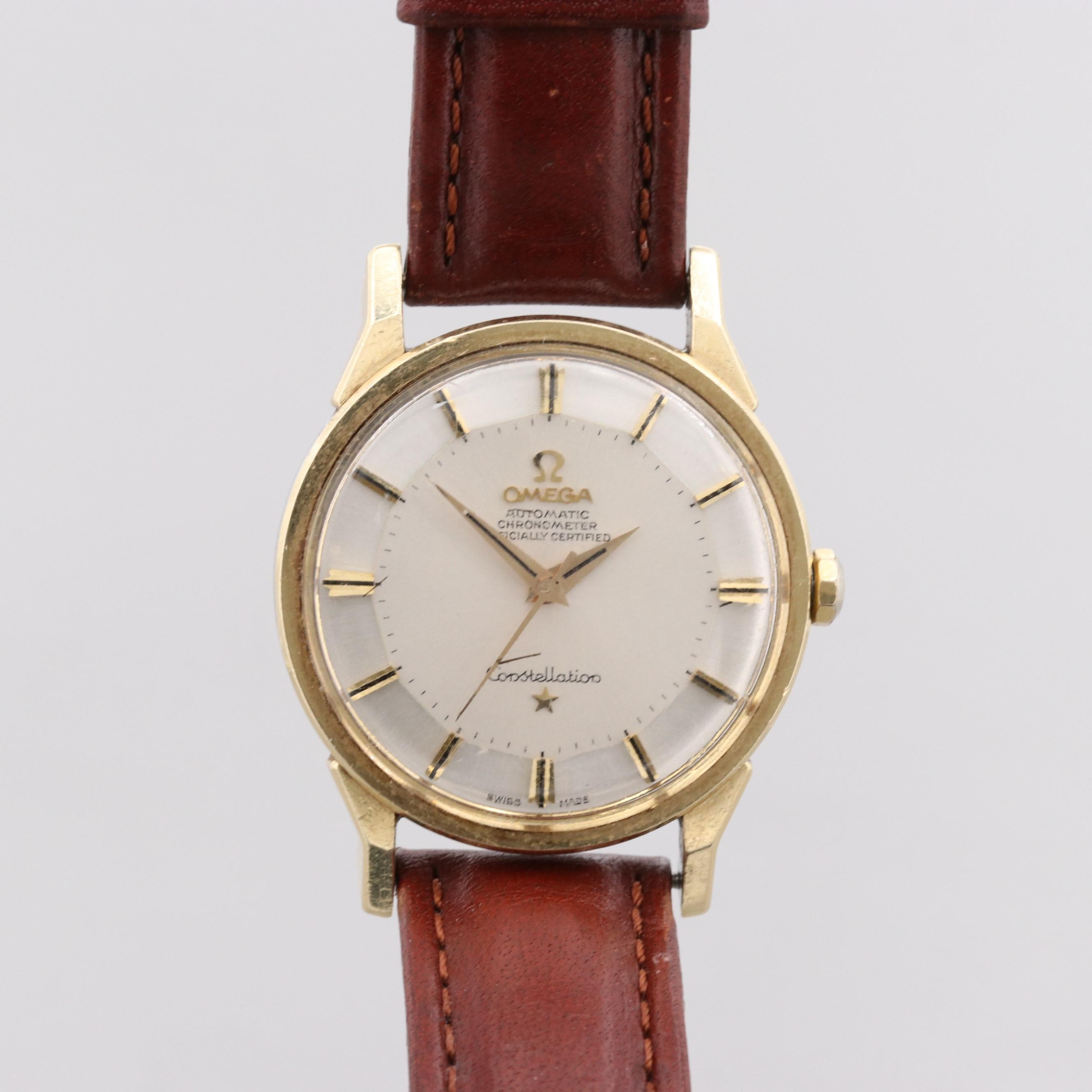 Omega Constellation Gold Capped Automatic Wristwatch With Engraved Case Back
