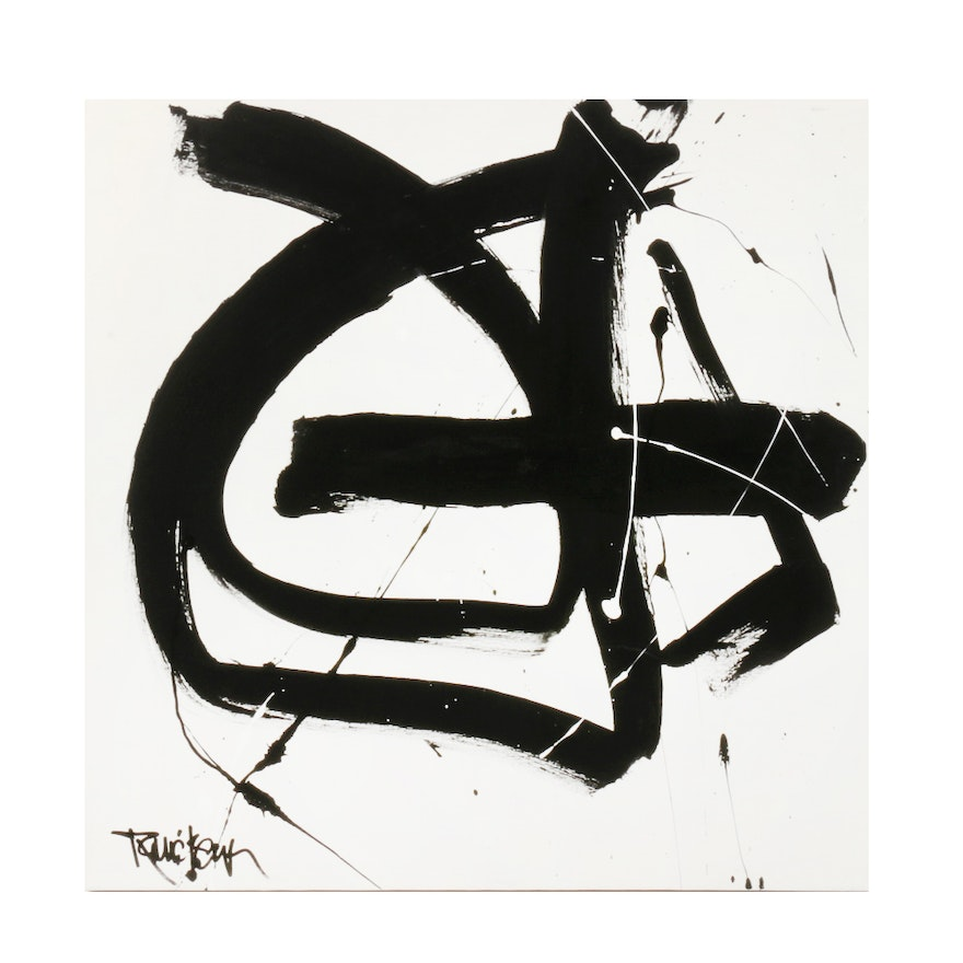 """Robbie Kemper Abstract Acrylic Painting """"Black Circle Line"""""""