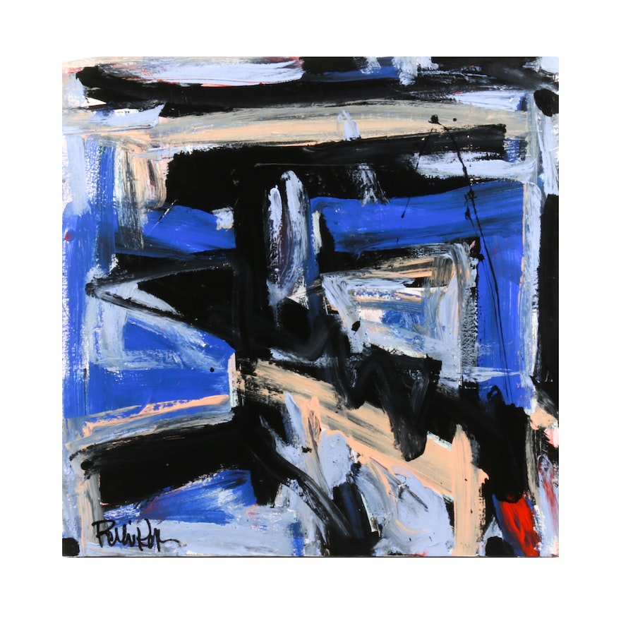 """Robbie Kemper Abstract Acrylic Painting """"Blue Peach Black"""""""