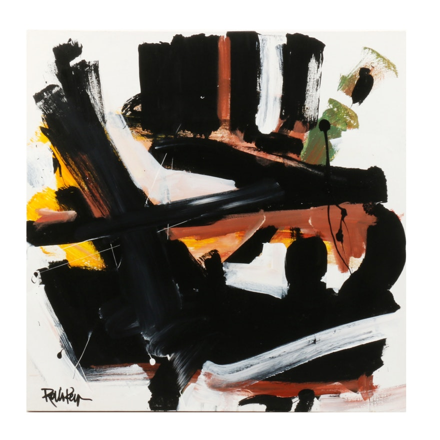 """Robbie Kemper Abstract Acrylic Painting """"Warms Under Black"""""""