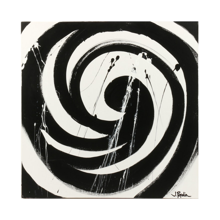 "J. Popolin Acrylic Painting ""Black Spiral"""