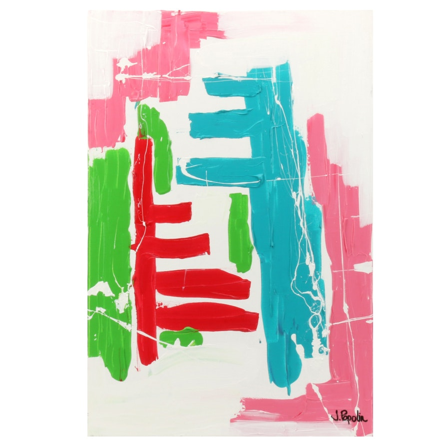"J. Popolin Acrylic Painting ""Red Pink Blue Green"""