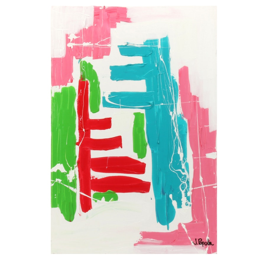 """J. Popolin Acrylic Painting """"Red Pink Blue Green"""""""