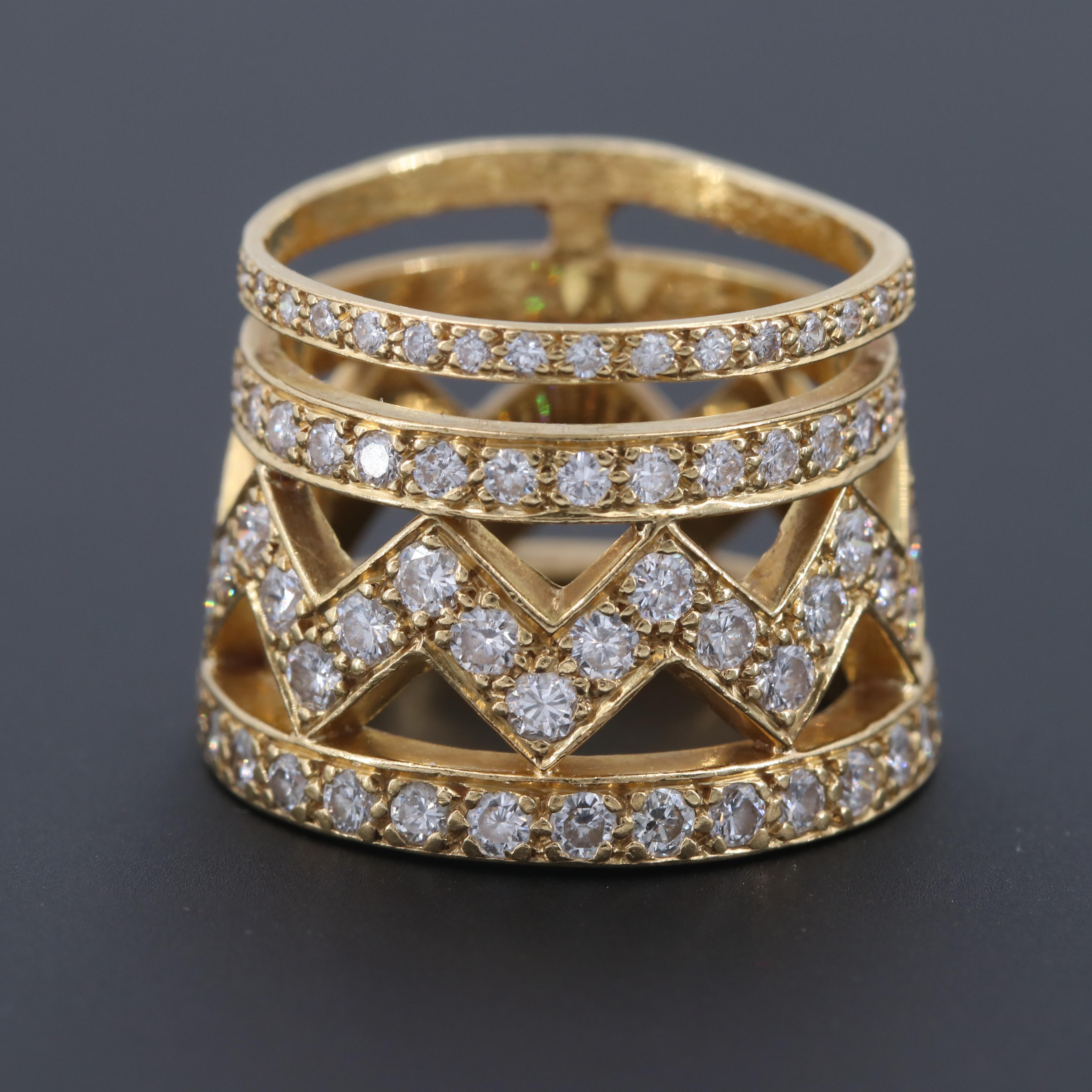 18K Yellow Gold 1.57 CTW Diamond Ring