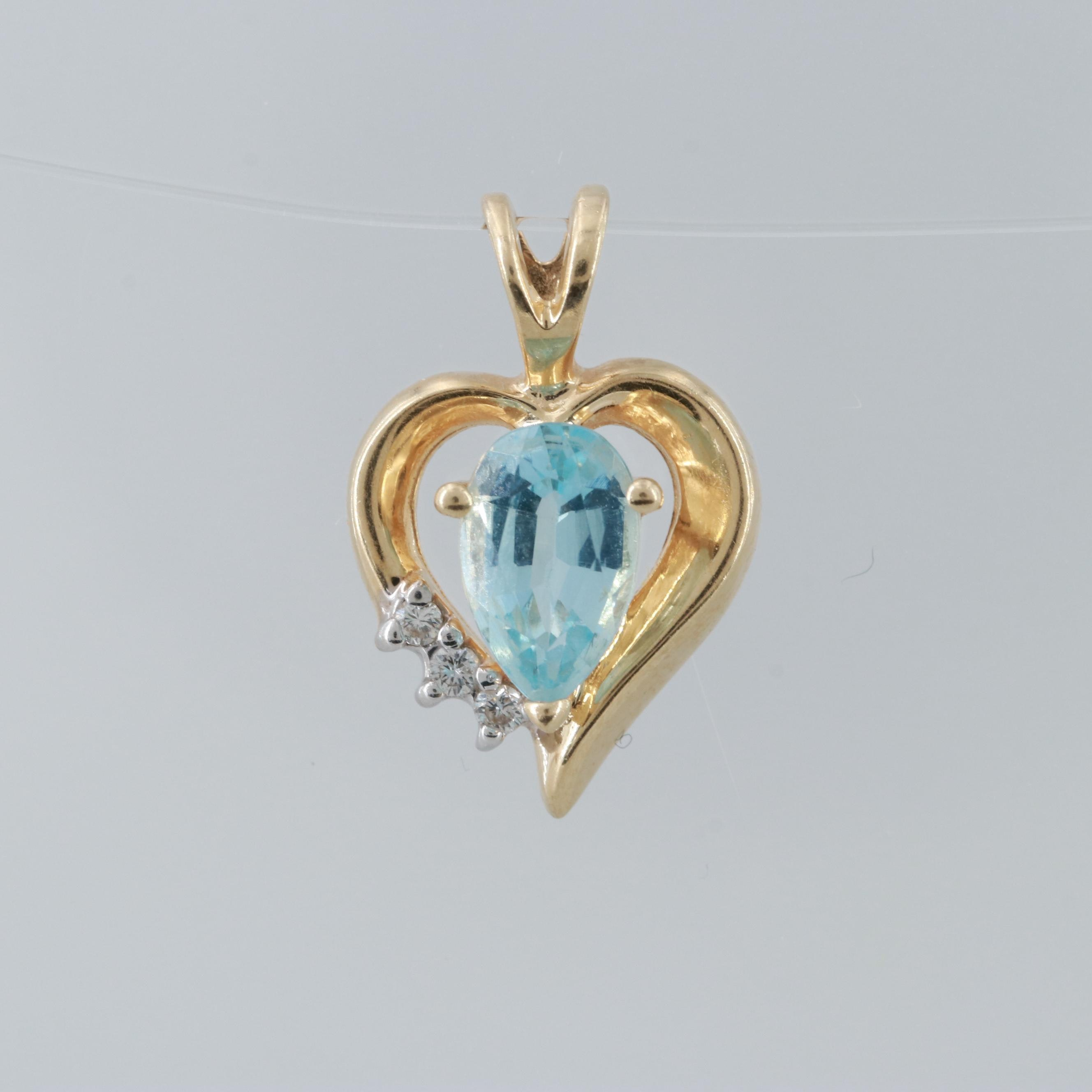 Alwand Vahan 14K Yellow Gold Blue Topaz and Diamond Heart Motif Pendant