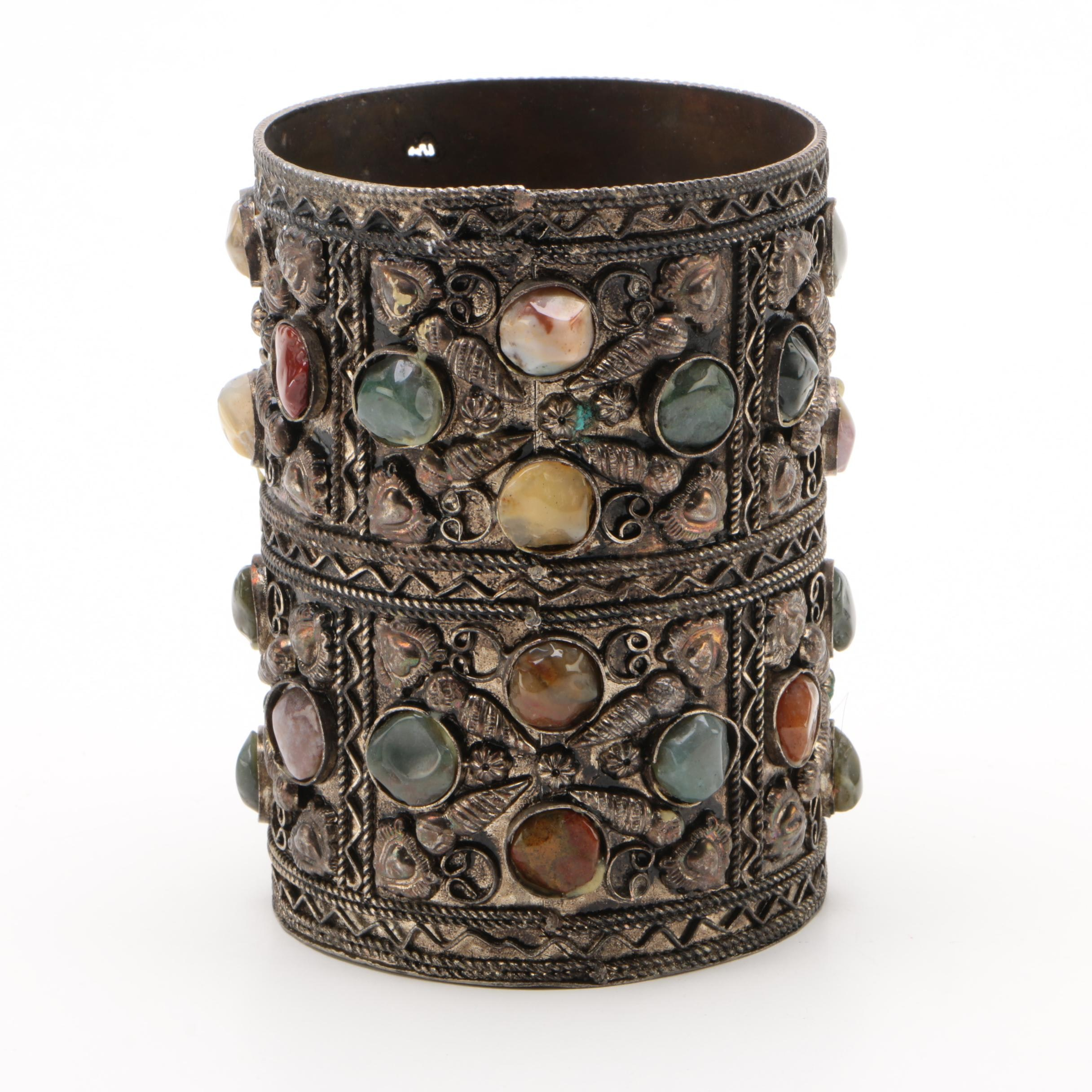 Indian Metal Pen Cup with Inset Agate Stones