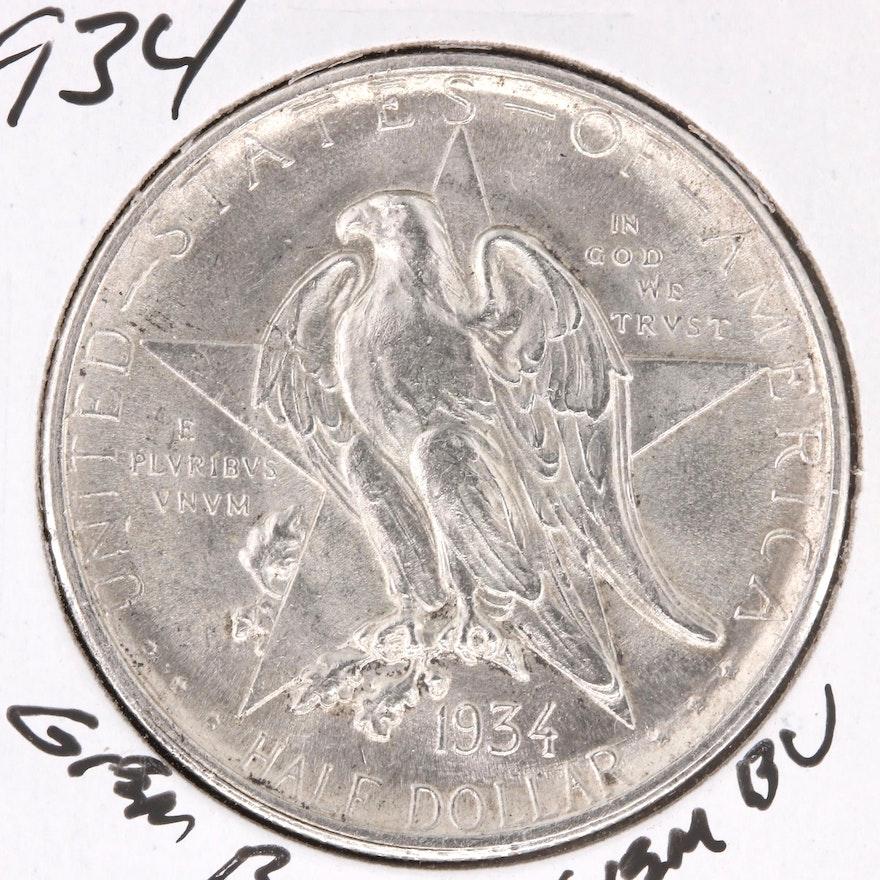 1934 Texas Independence Centennial Commemorative Silver Half Dollar