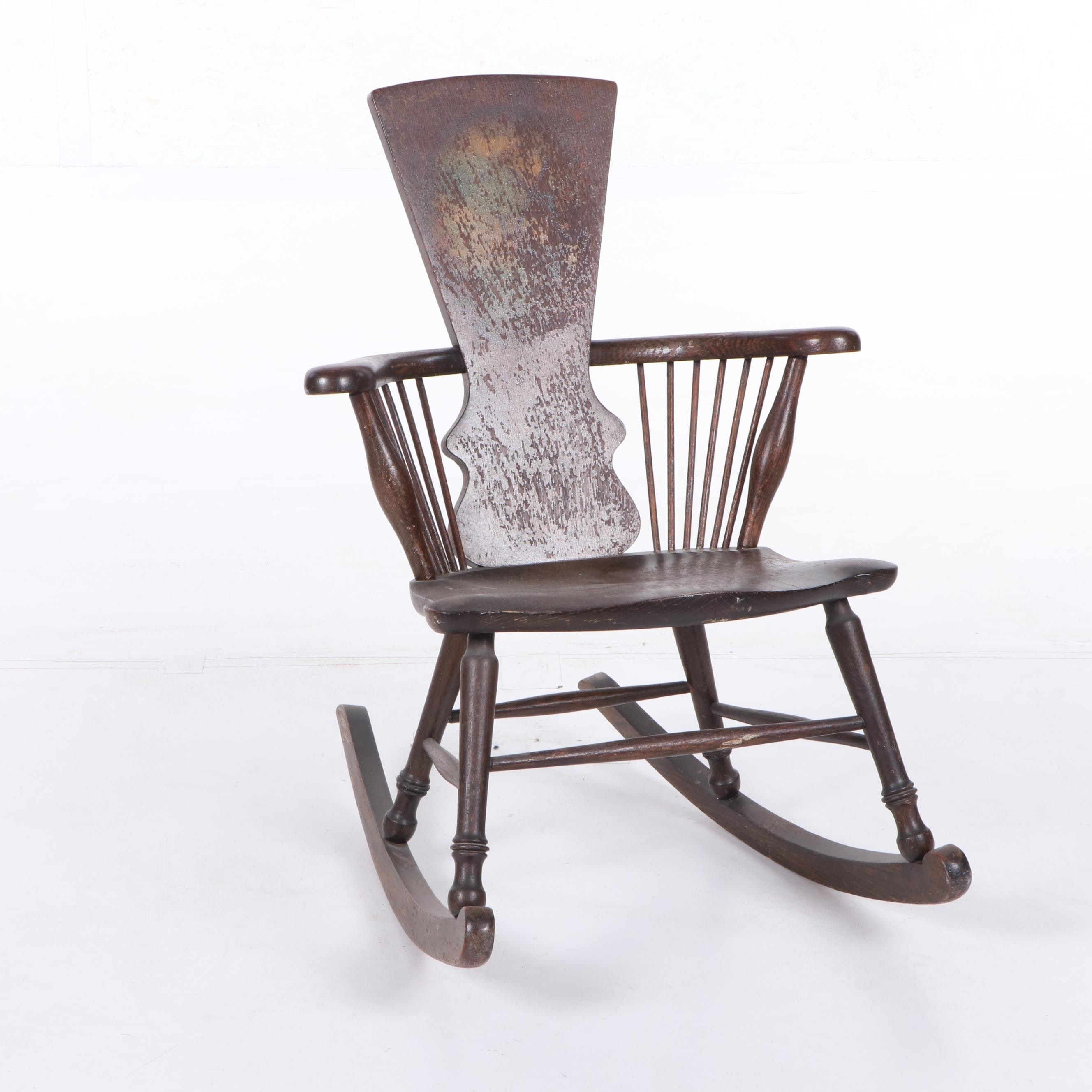 Victorian Style Oak Rocking Chair, Early 20th Century