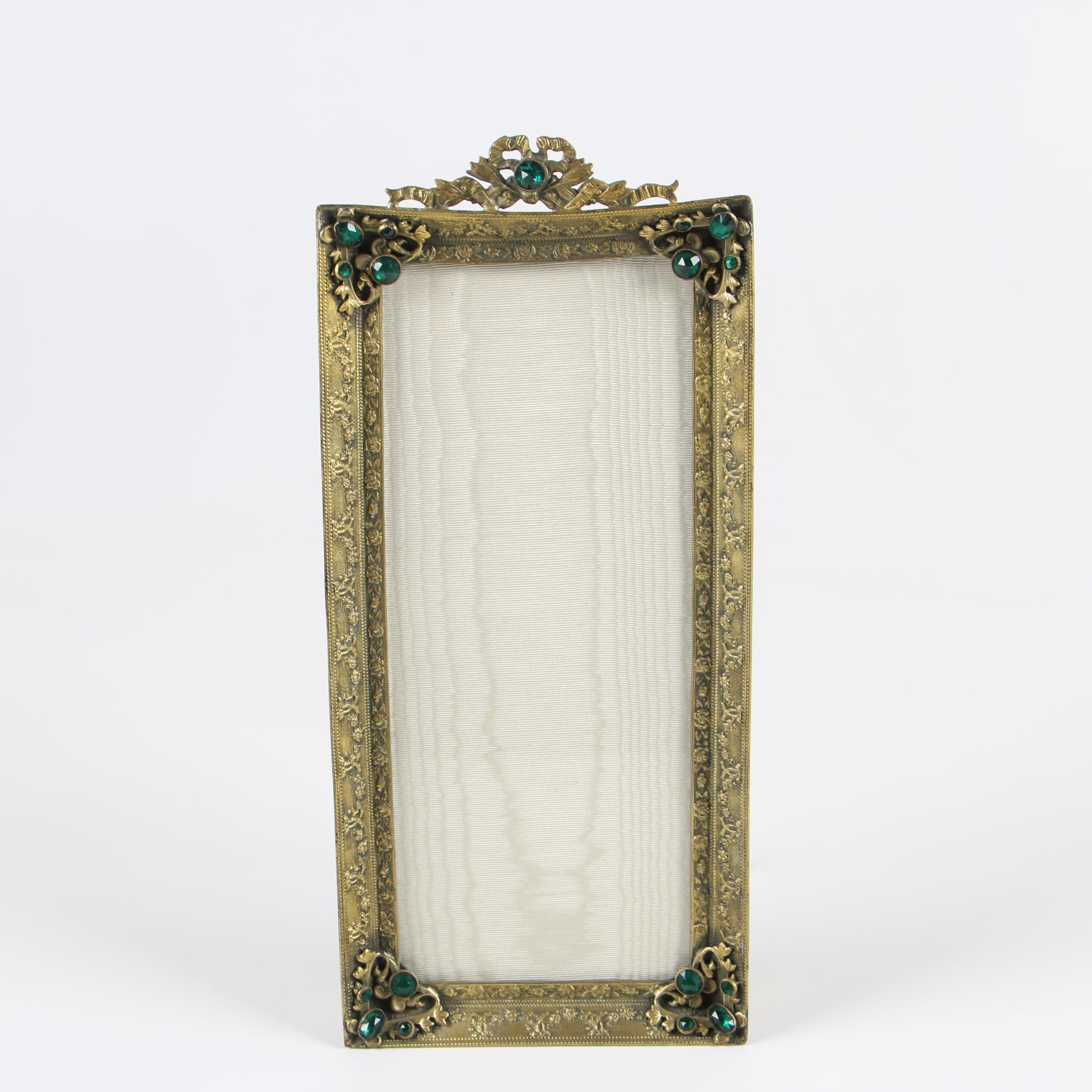 Brass Table Top Picture Frame with Glass Accents