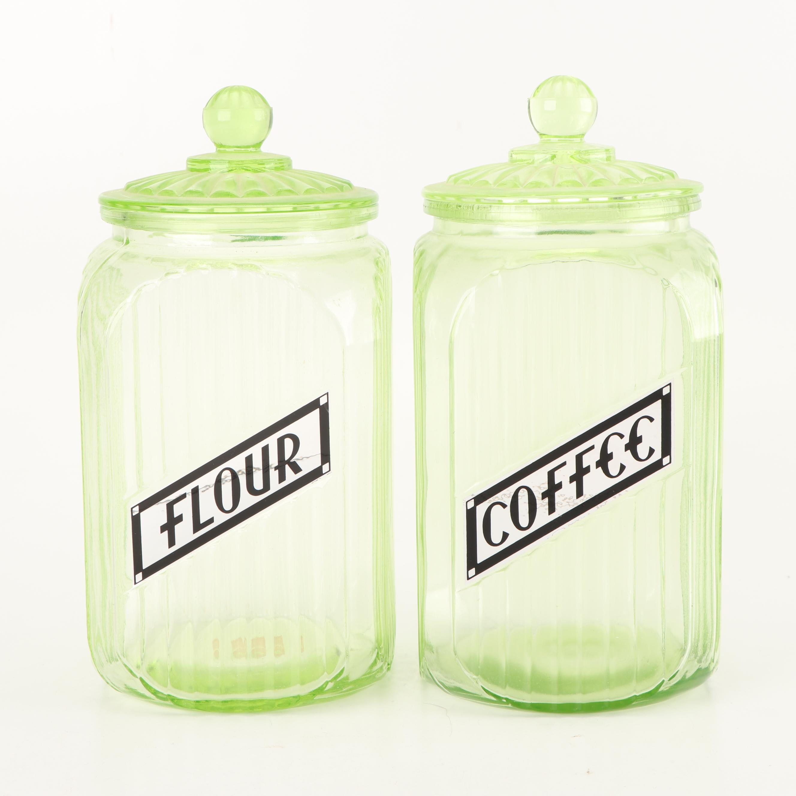 Anchor Hocking Depression Glass Flour and Coffee Storage Jars