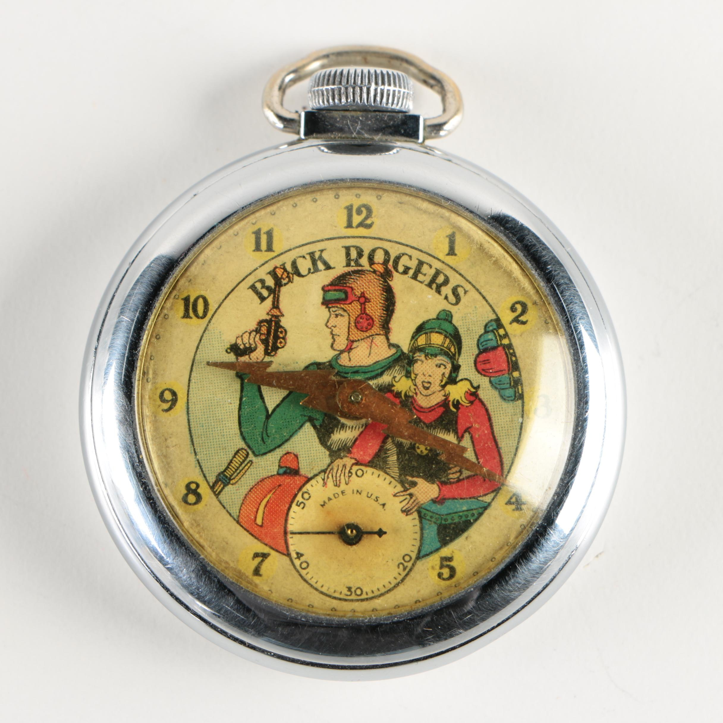 """Buck Rogers"" Chrome Pocket Watch by E. Ingraham Company, c.1935"