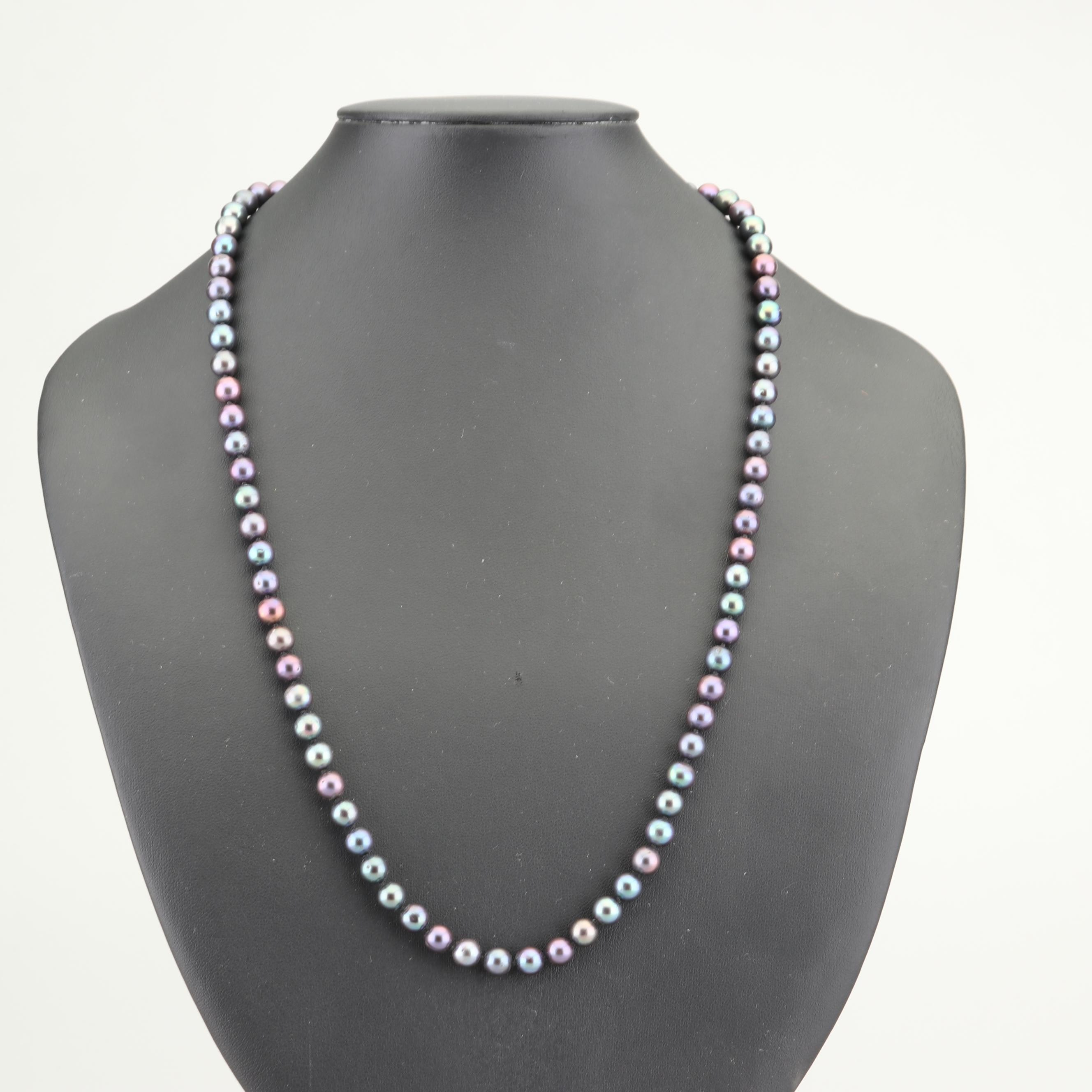 Freshwater Cultured Black Pearl Necklace with 14K Yellow Gold Clasp