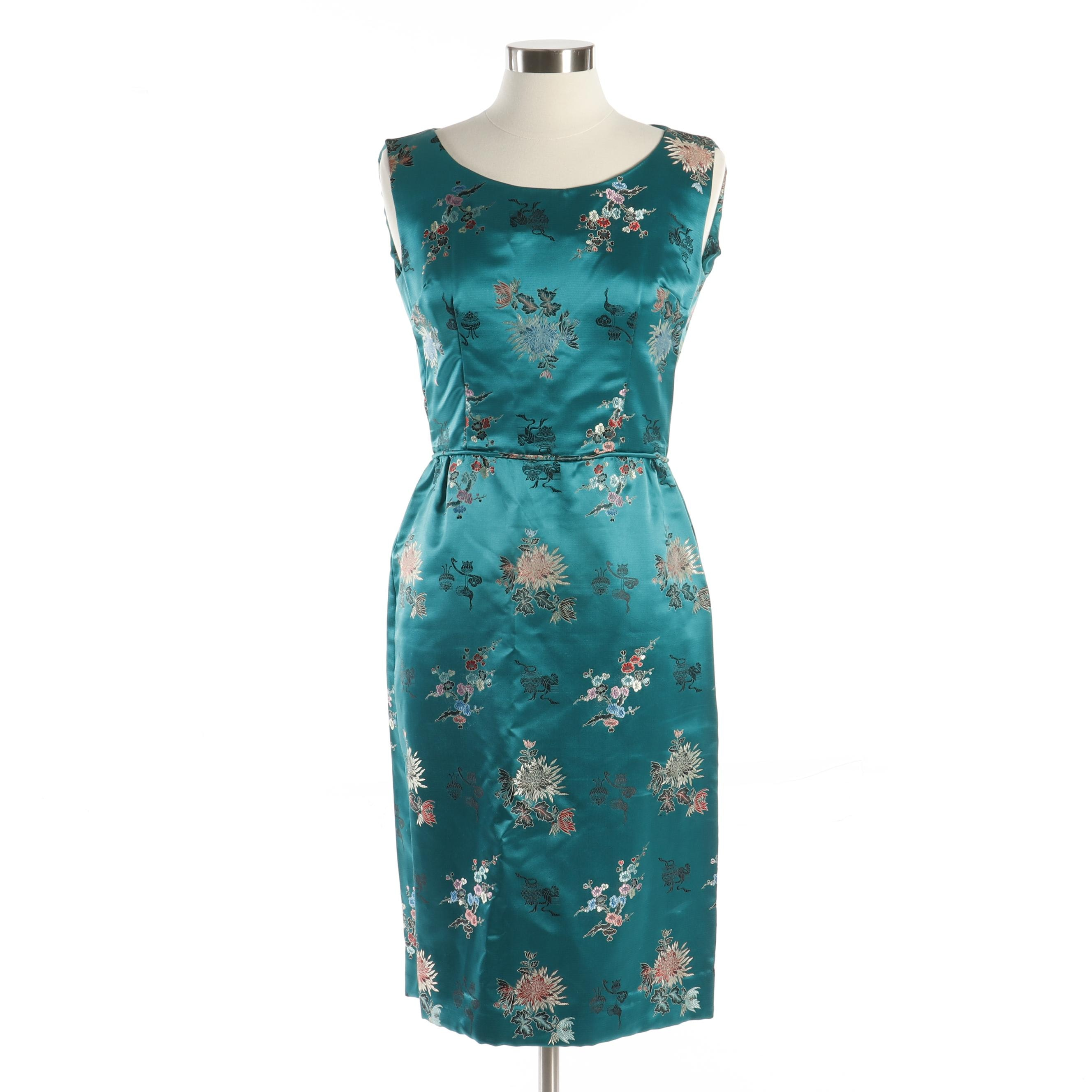 Handmade Asian Multicolor Floral Teal Brocade Satin Sleeveless Cocktail Dress
