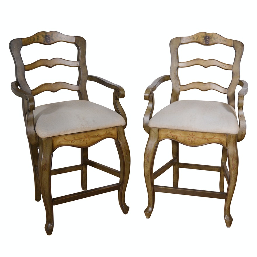 Admirable Two French Provincial Style Counter Height Stools 21St Century Ncnpc Chair Design For Home Ncnpcorg