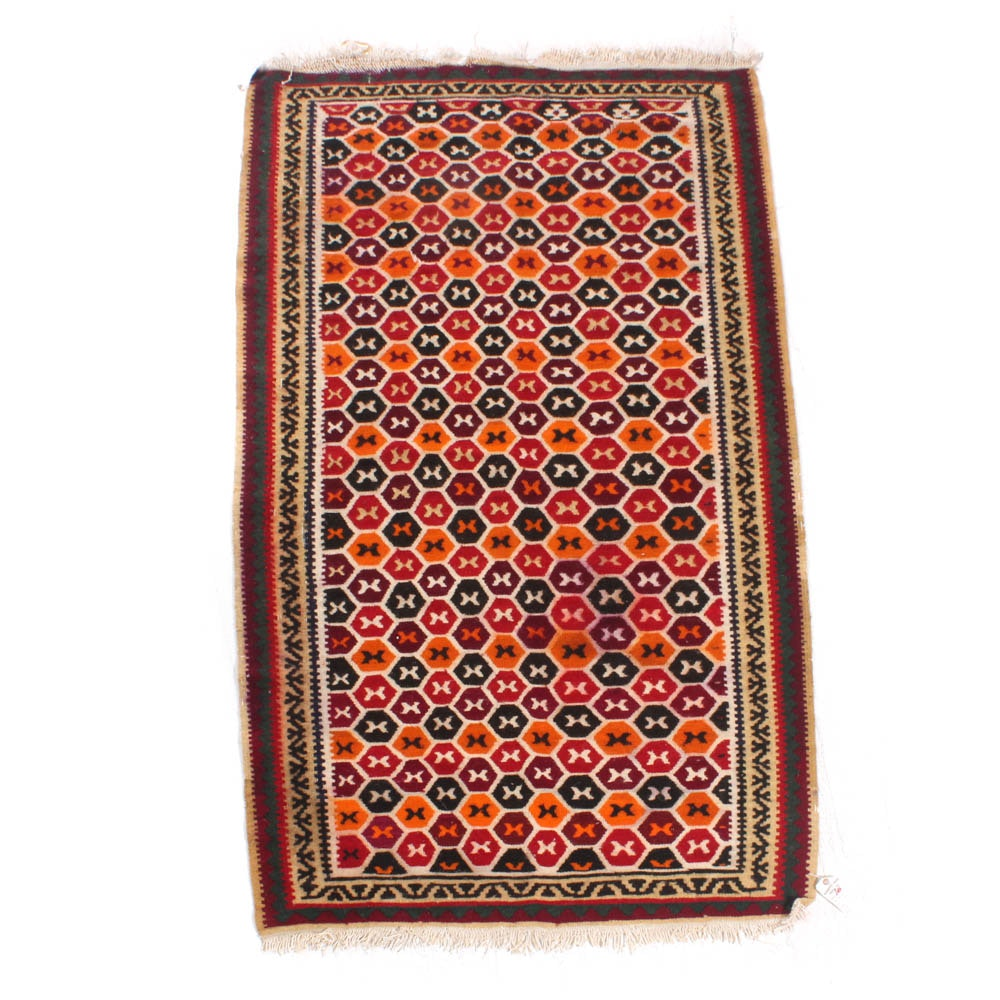 Handwoven Turkish Slit Weave Wool Kilim