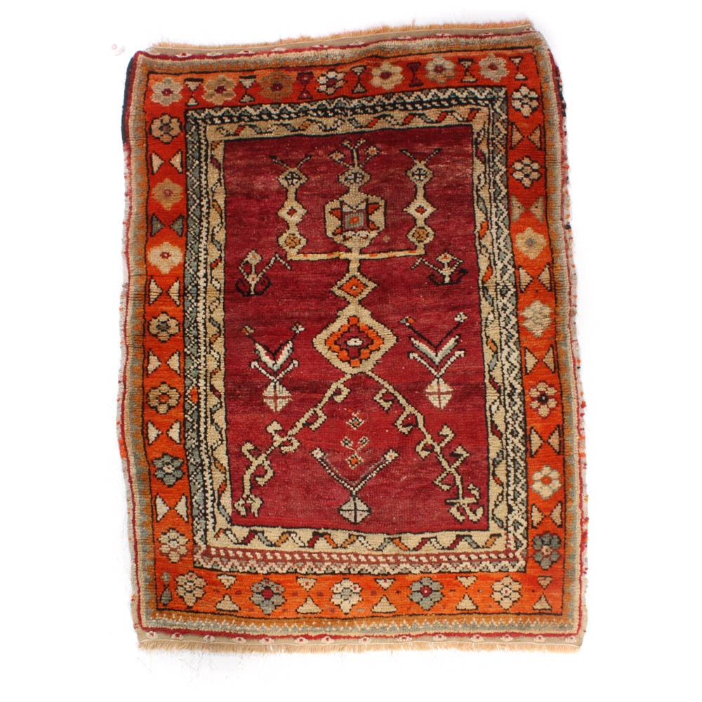 Hand-Knotted Turkish Oushak Rug