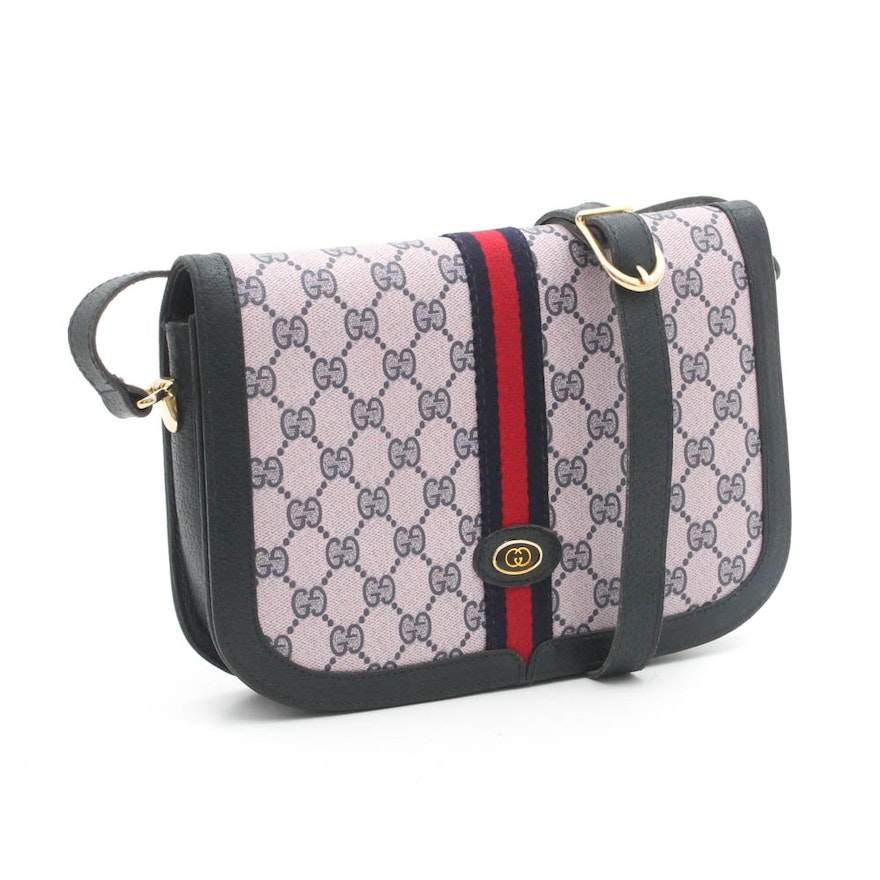 Gucci Signature Coated Canvas and Leather Web Stripe Crossbody Bag