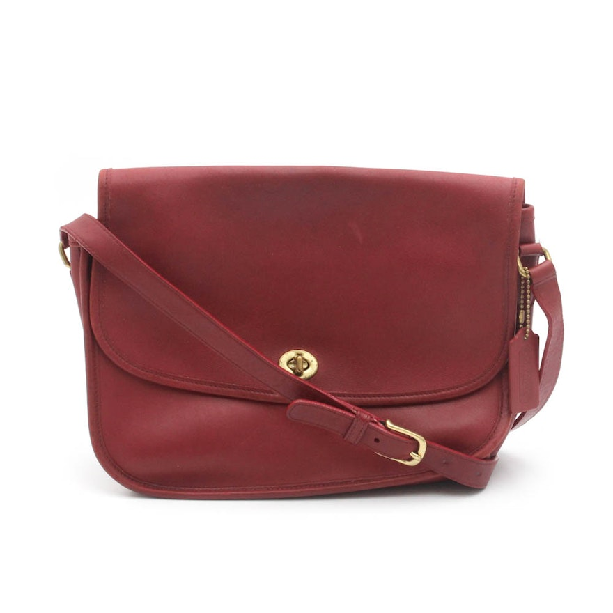Coach City Red Leather Flap Crossbody Shoulder Bag   EBTH abb58a84555cd