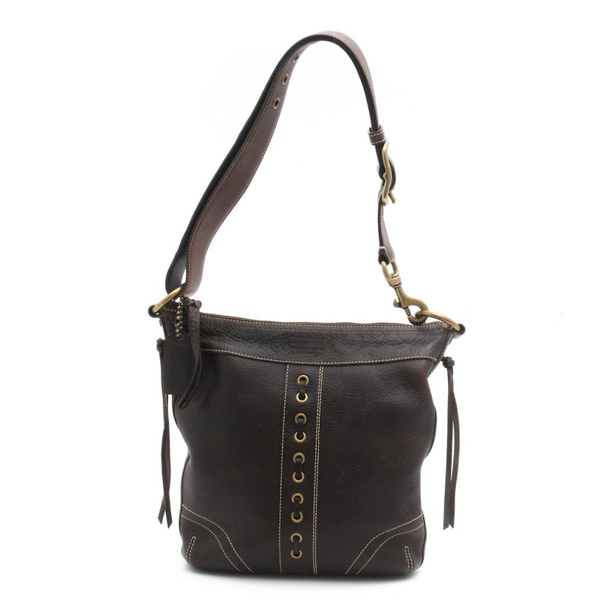 Coach Dark Brown Pebbled Leather Shoulder Bag   EBTH 302be3958f4ac