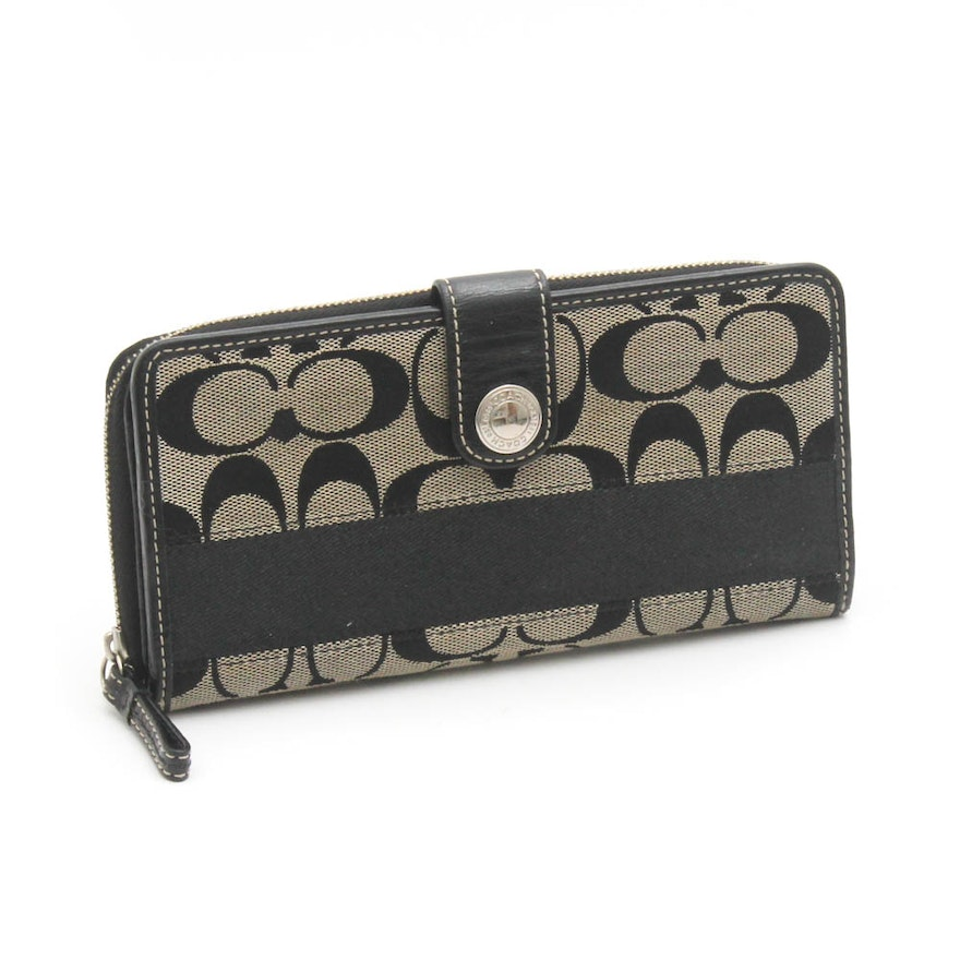 af3cad43dcd730 Coach Signature Canvas and Black Leather Wallet : EBTH