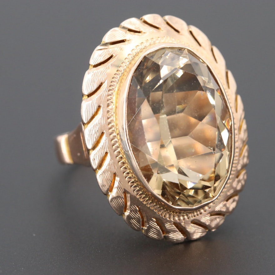 11c5faa87a9 Vintage 10K Rose Gold Citrine Ring | EBTH