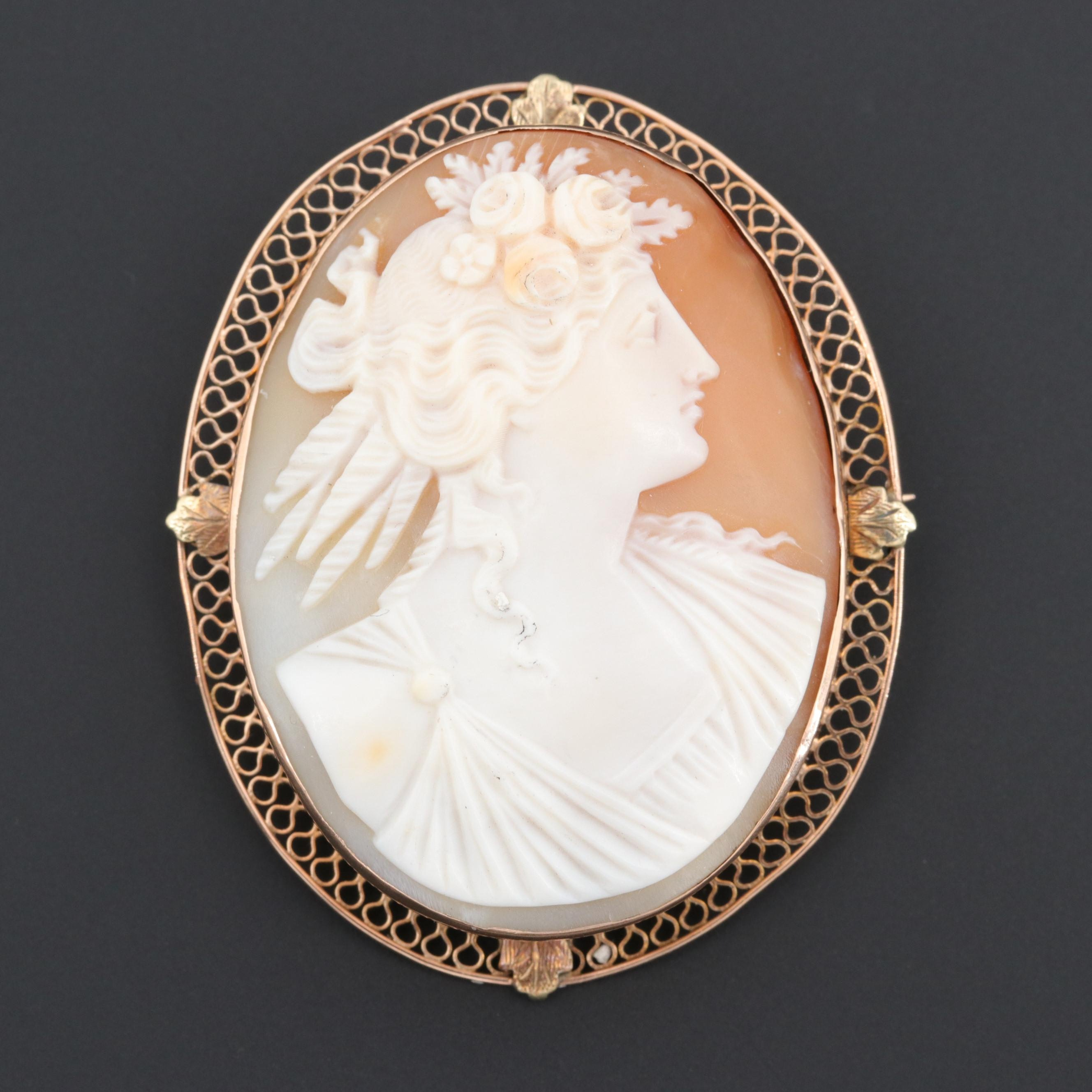 Victorian 14K Yellow Gold Helmet Shell Carved Cameo Converter Brooch