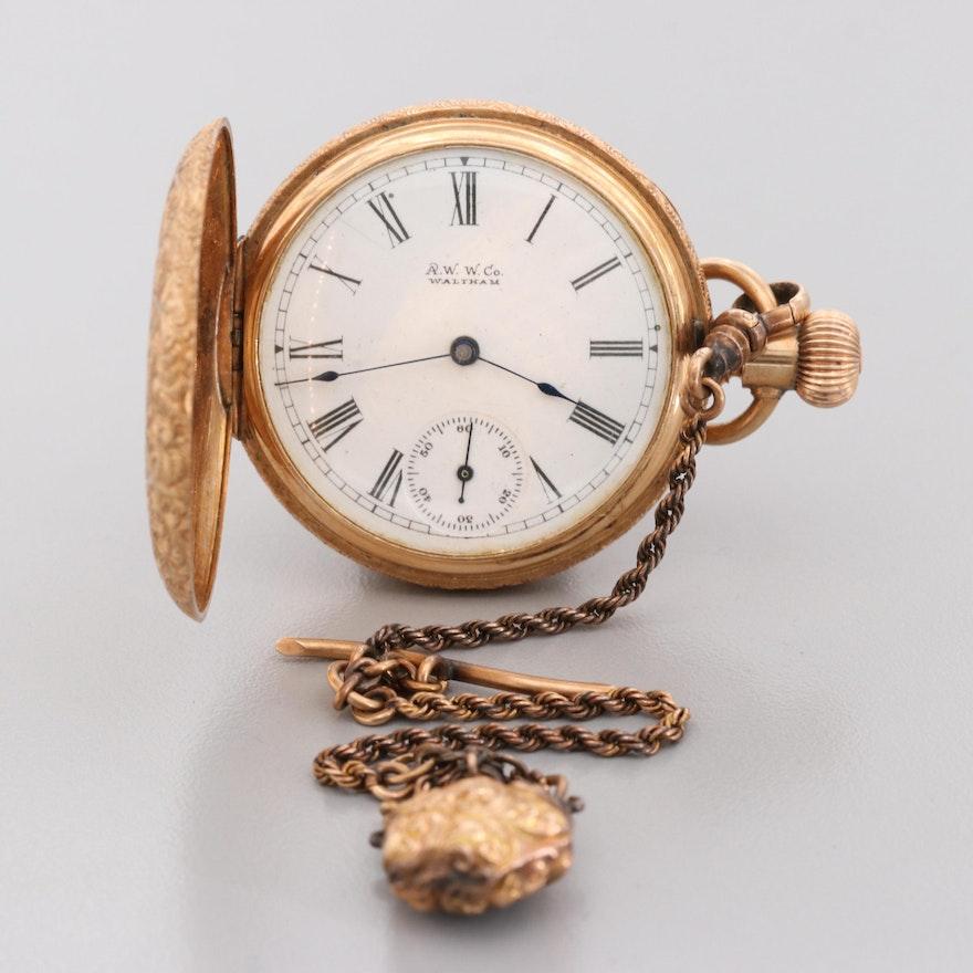 Waltham 14K Tri-Color Gold Diamond Pocket Watch, Circa 1891