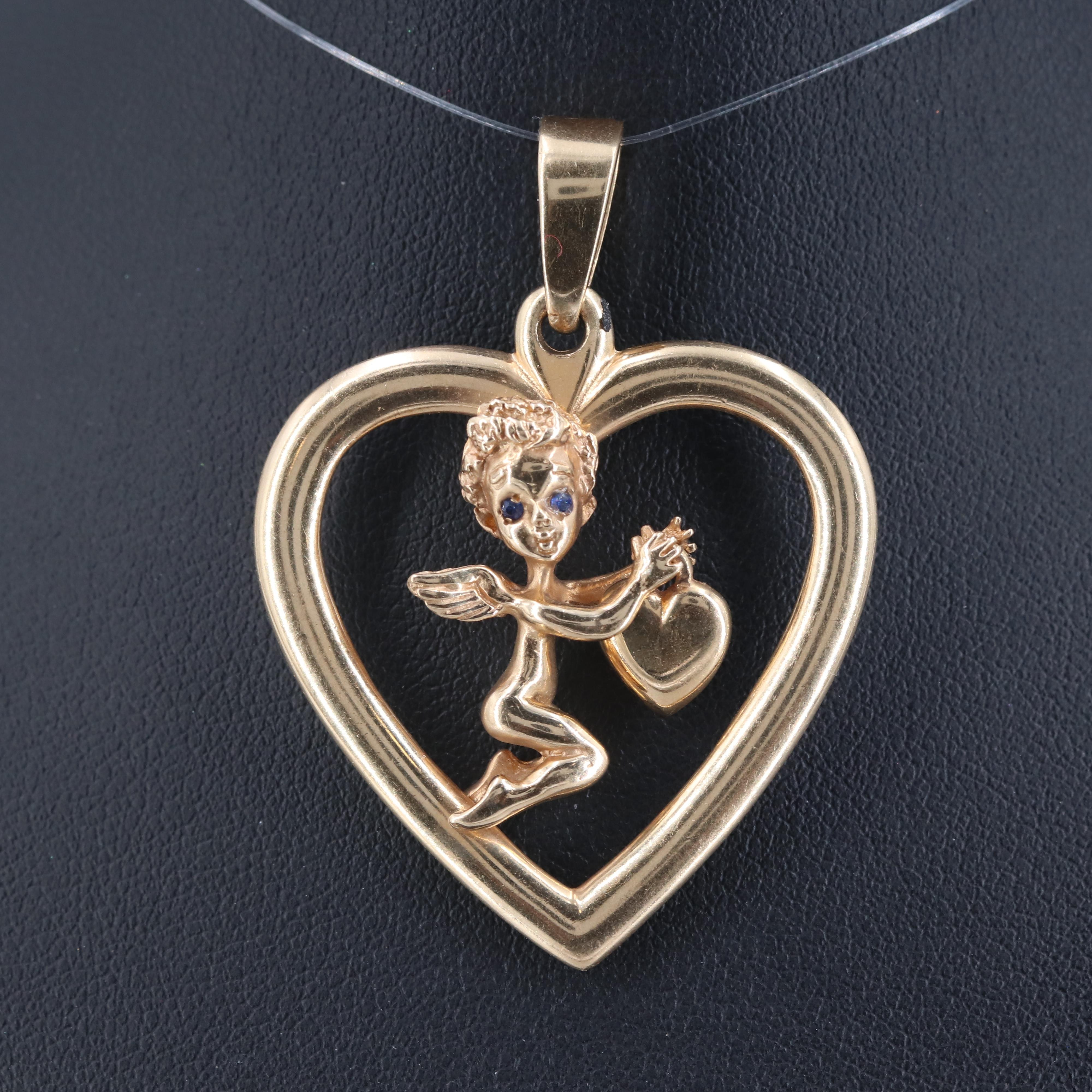 Marvin Hime 14K Yellow Gold Synthetic Sapphire Cupid Pendant