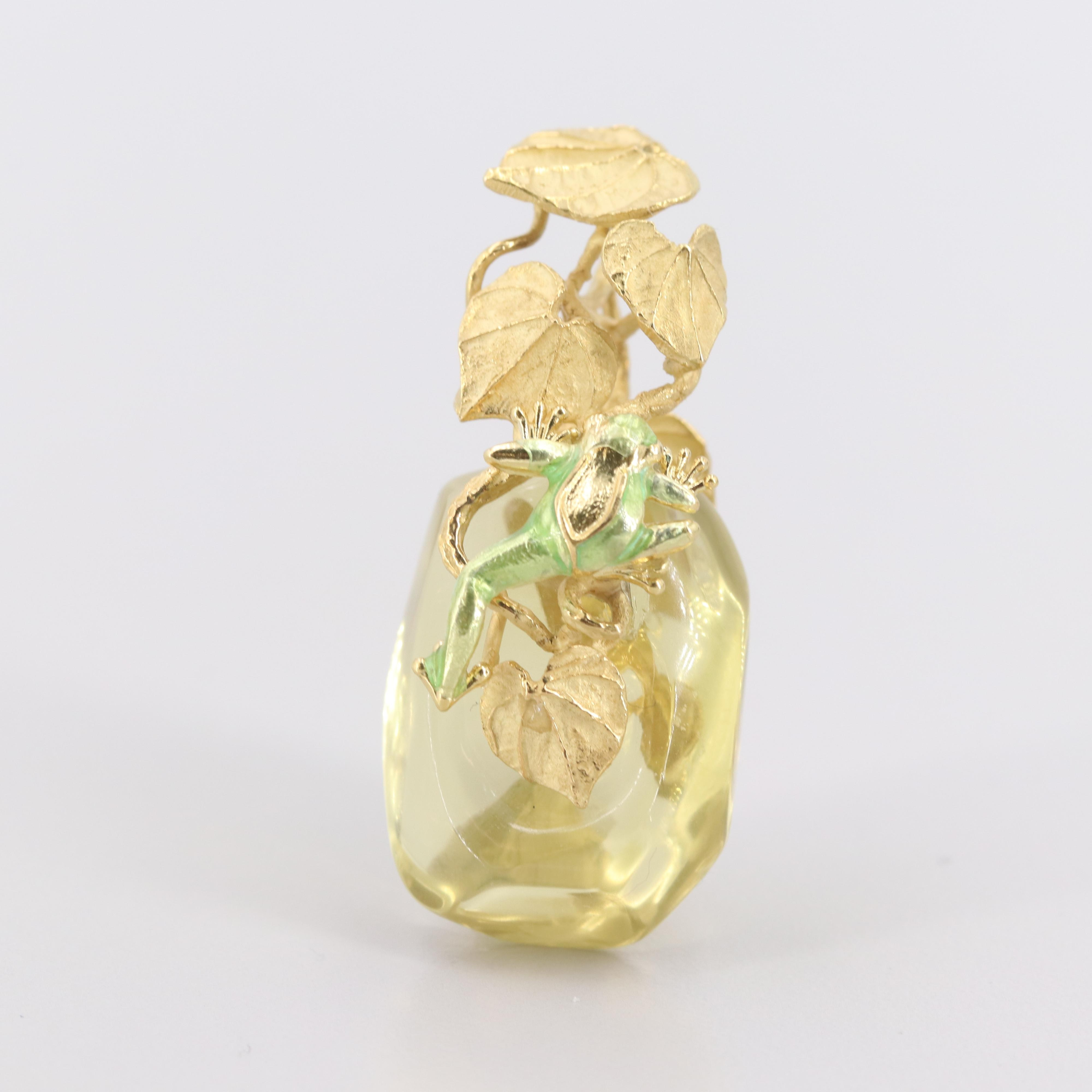 18K Yellow Gold Citrine and Enamel Frog and Plant Motif Pendant