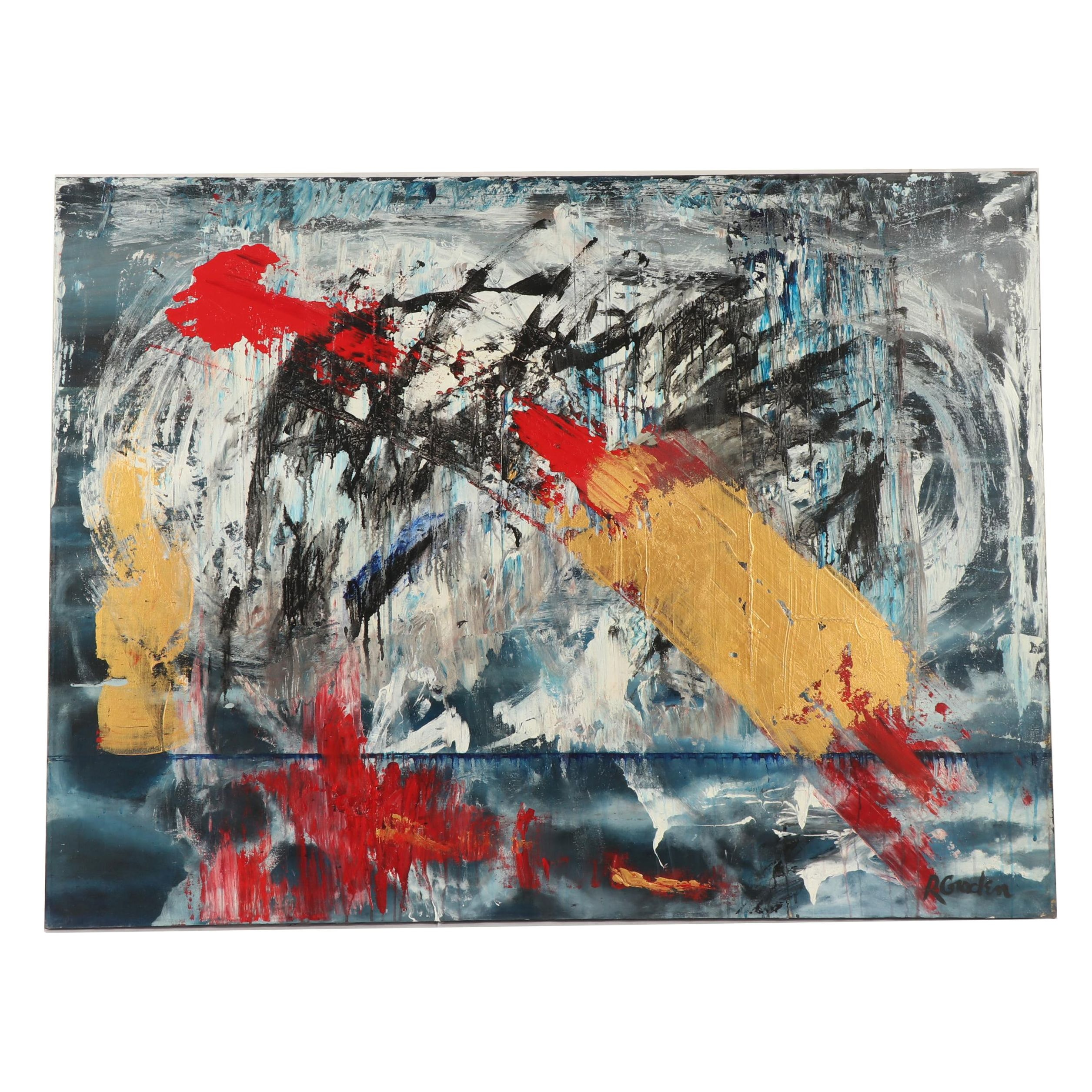 """Randy Groden Abstract Mixed Media Painting """"Ormos"""""""